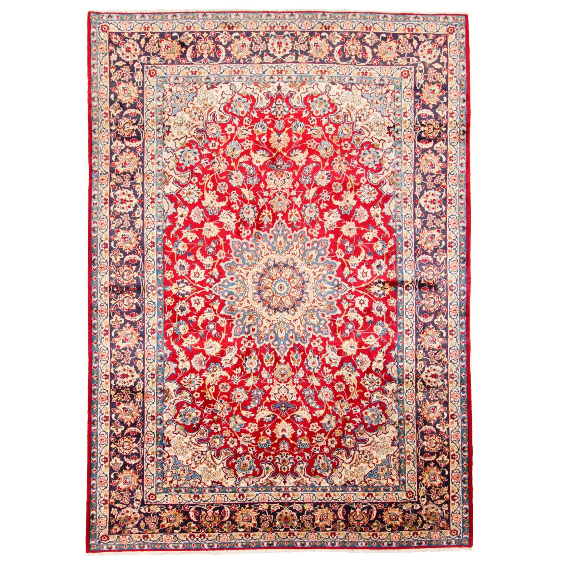 """9'10""""X14'1"""" Red Semi Antique Persian Isfahan Pure Wool Hand Knotted Oriental Rug R47881"""