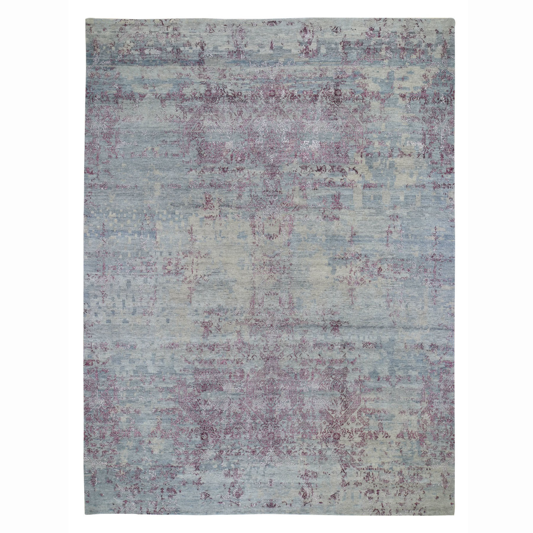 "9'X11'7"" Hi-Low Pile Abstract Jewellery Design Wool And Silk Hand Knotted Modern Rug moad788b"