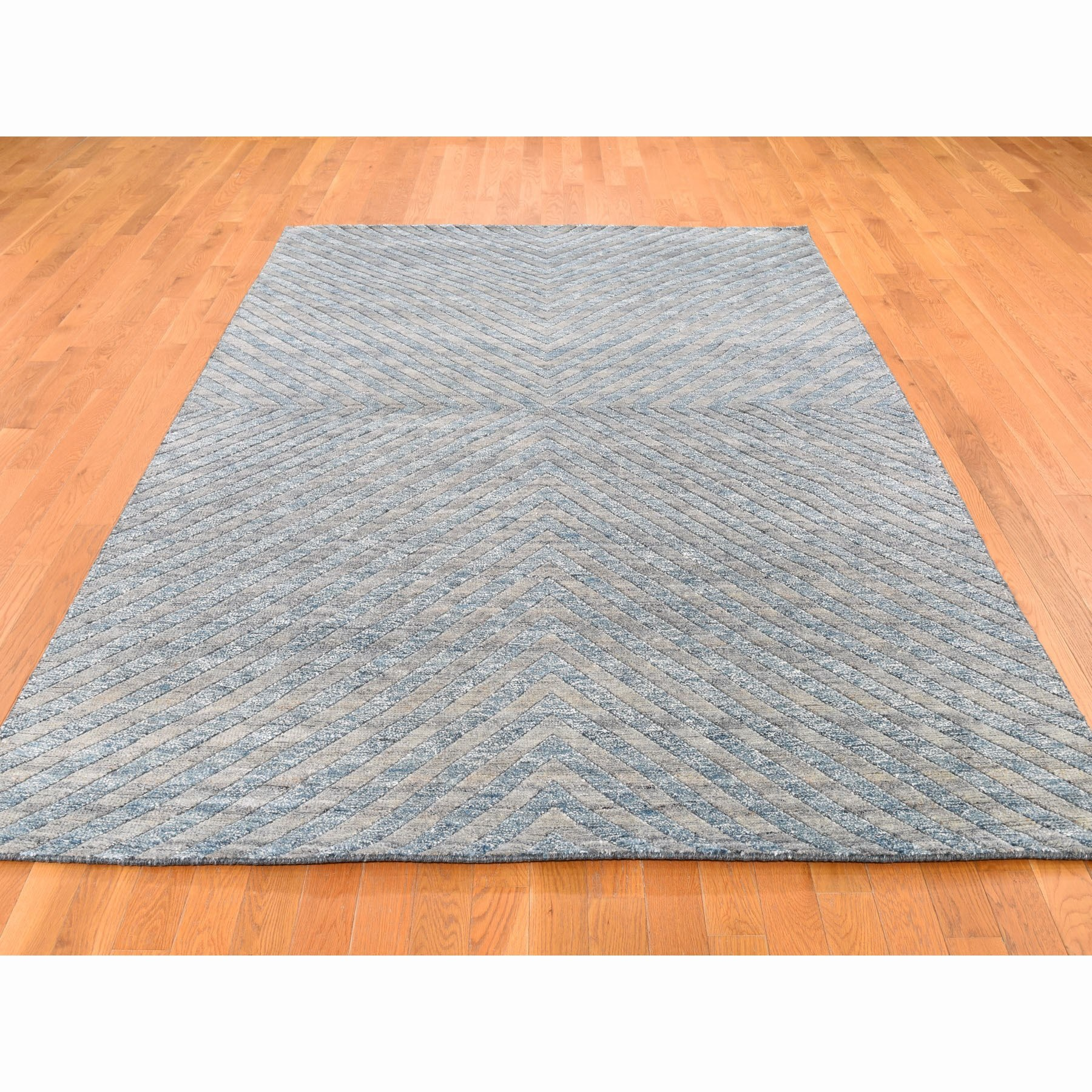 """6'1""""x9' Blue Pure Wool Geometric Design Hand Knotted Modern Thick And Plush Oriental Rug"""