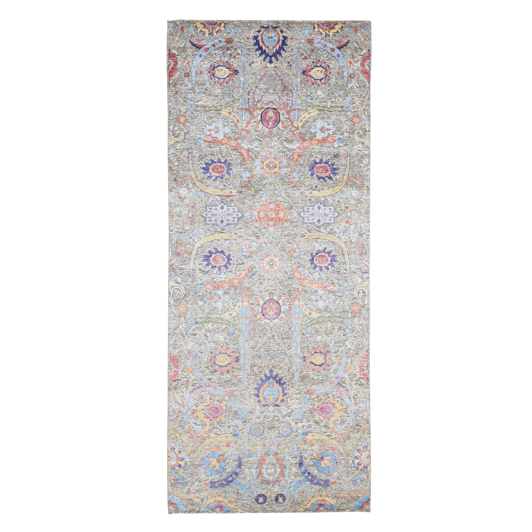 "4'1""X10' Sickle Leaf Design Silk With Textured Wool Wide Runner Hand Knotted Oriental Rug moad7886"