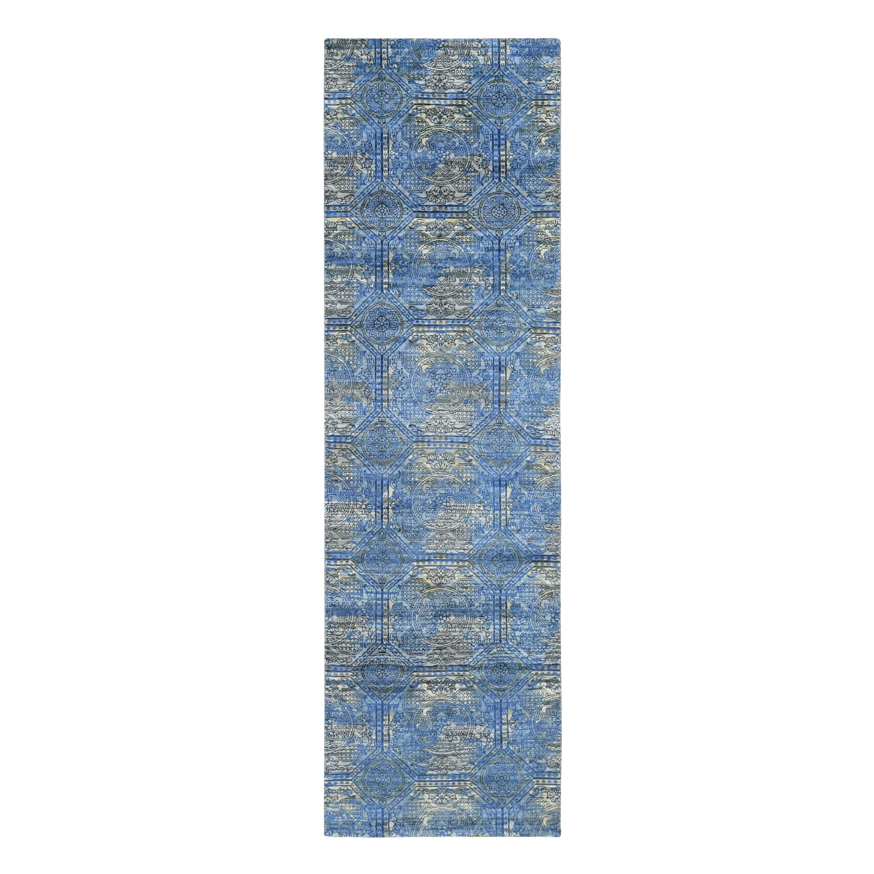 "2'8""X9'1"" Blue Silk With Textured Wool Rossets Design Runner Hand Knotted Oriental Rug moad7887"