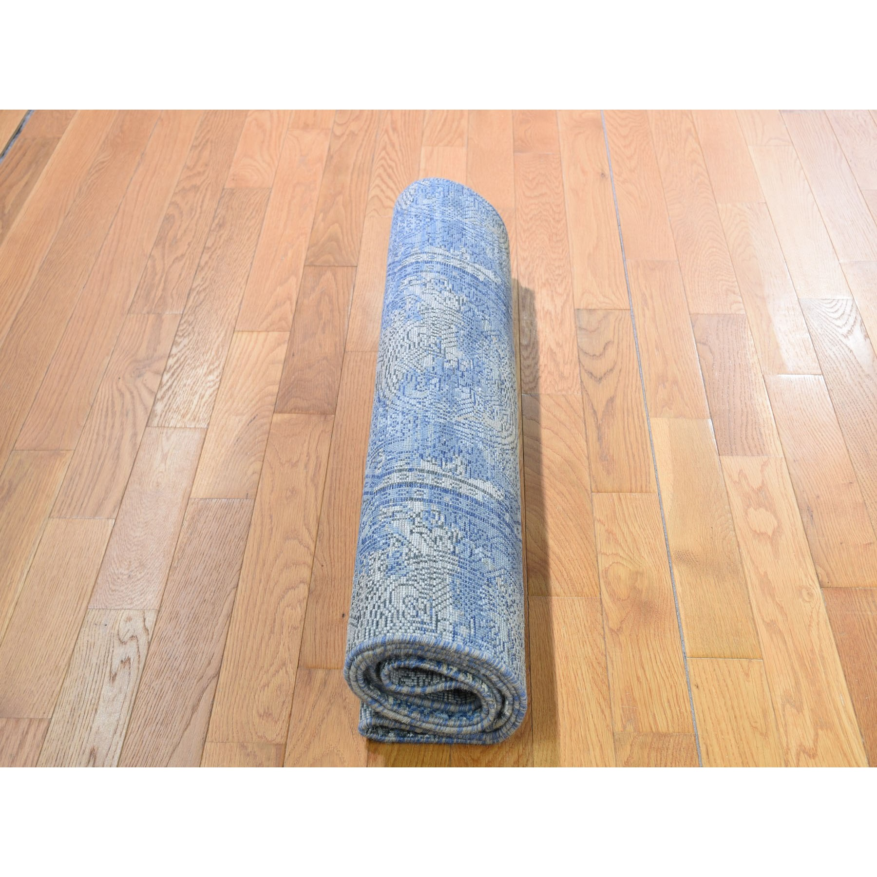 """2'8""""x9'1"""" Blue Silk With Textured Wool Rossets Design Runner Hand Knotted Oriental Rug"""