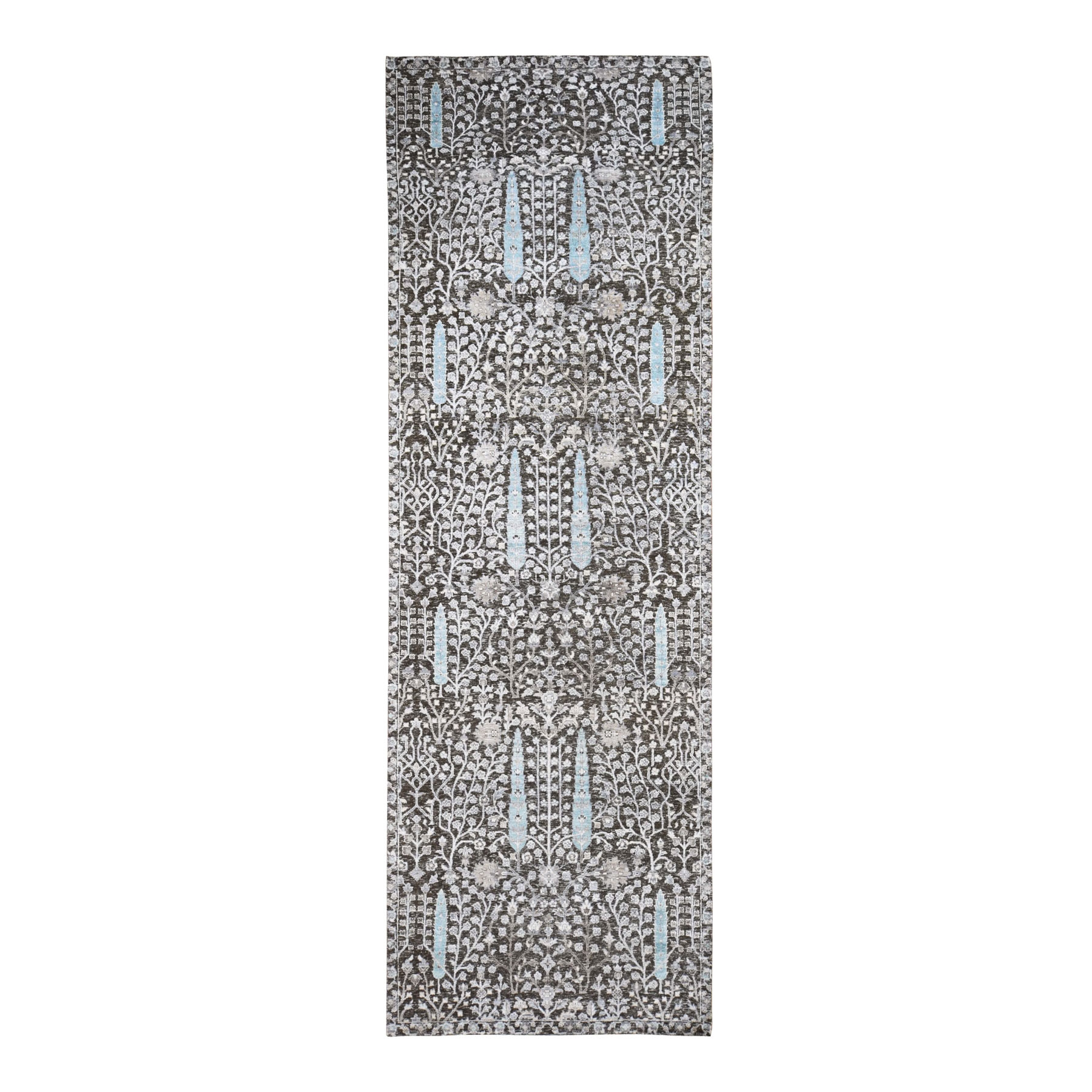 """4'2""""X12' Hand Knotted Cypress Tree Design Silk With Textured Wool Wide Runner Oriental Rug moad7890"""