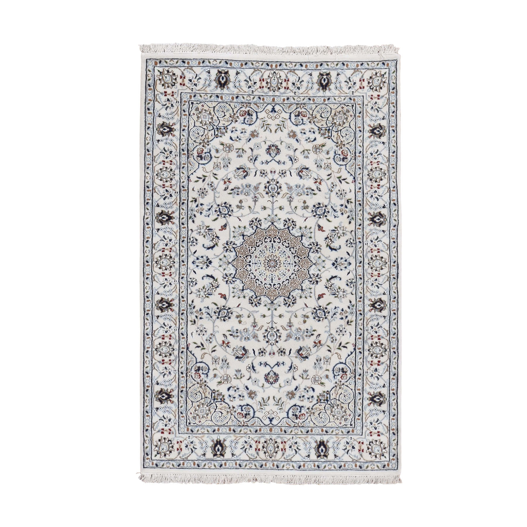 "3'2""X5'2"" Ivory Nain Wool And Silk 250 Kpsi Hand Knotted Oriental Rug moad789b"