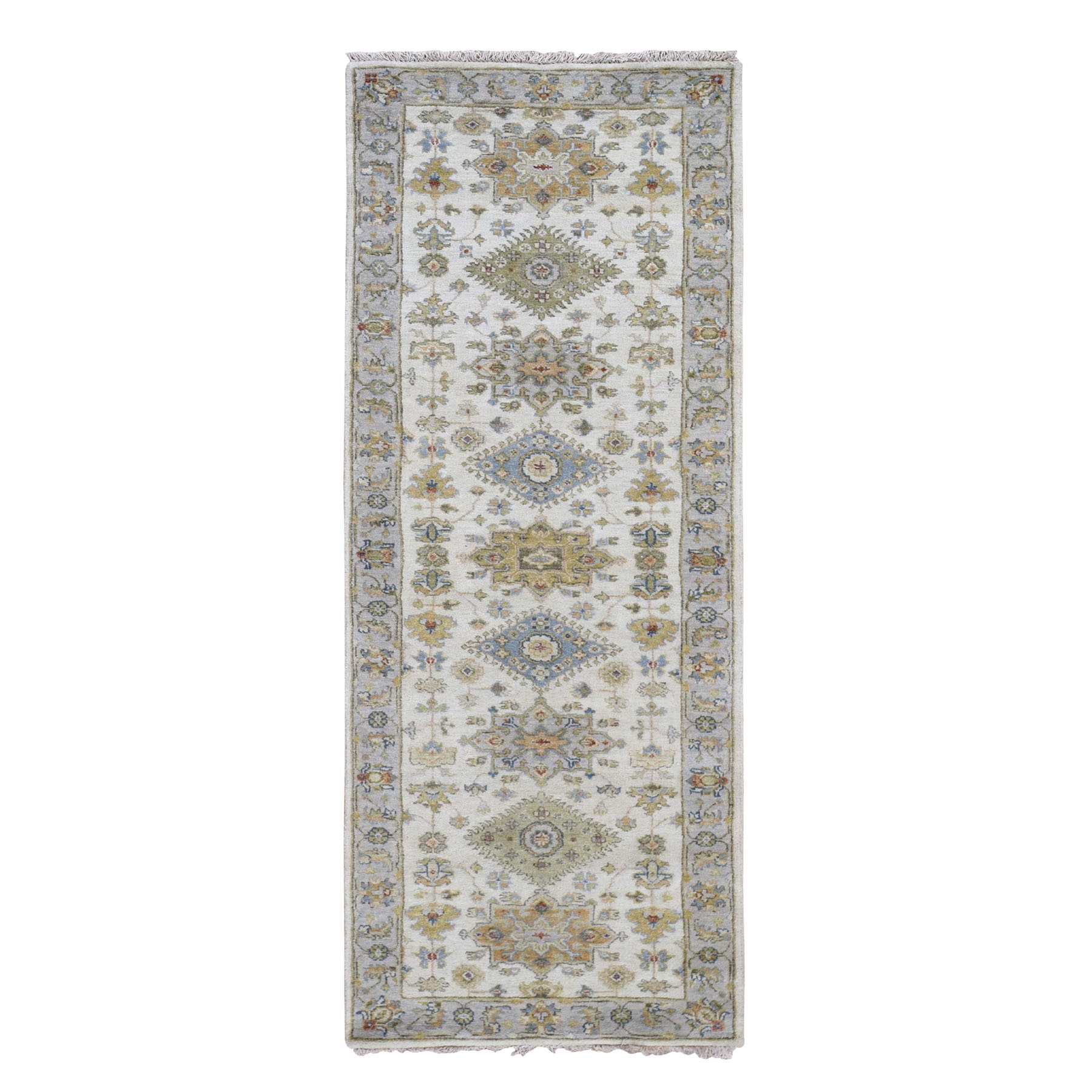 "2'8""X8' Ivory Karajeh Design Pure Wool Hand Knotted Oriental Rug moad789d"
