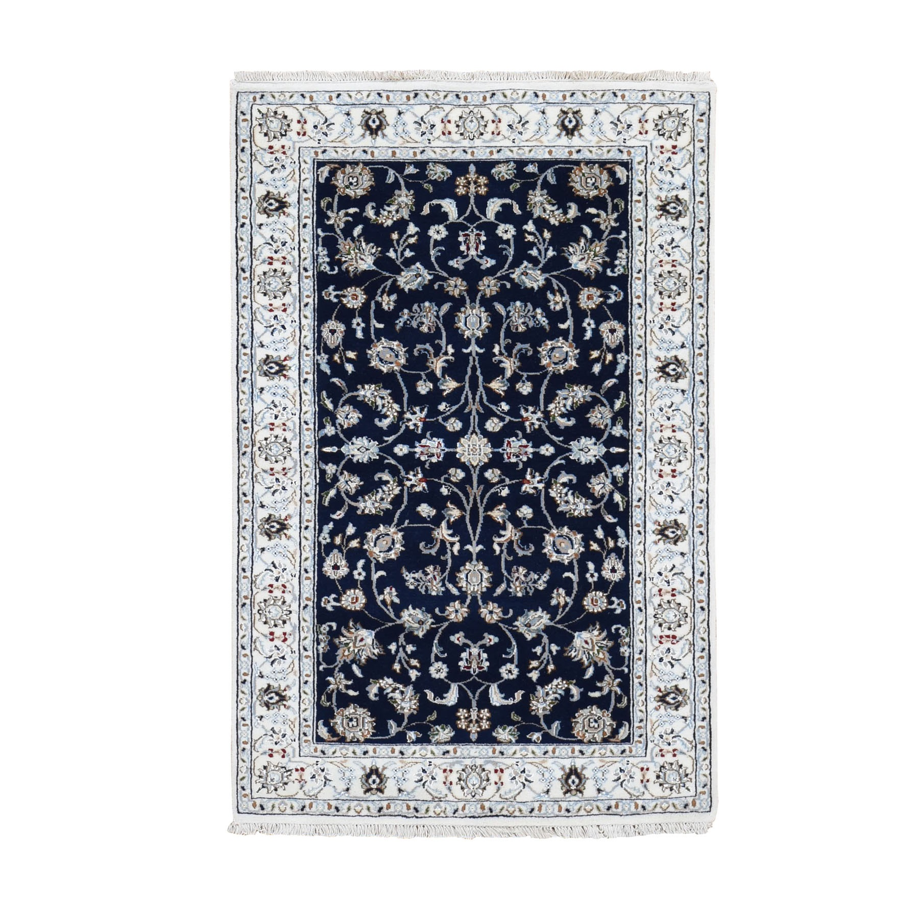 """3'X5'1"""" Blue Nain Wool And Silk All Over Design 250 Kpsi Hand Knotted Oriental Rug moad789e"""