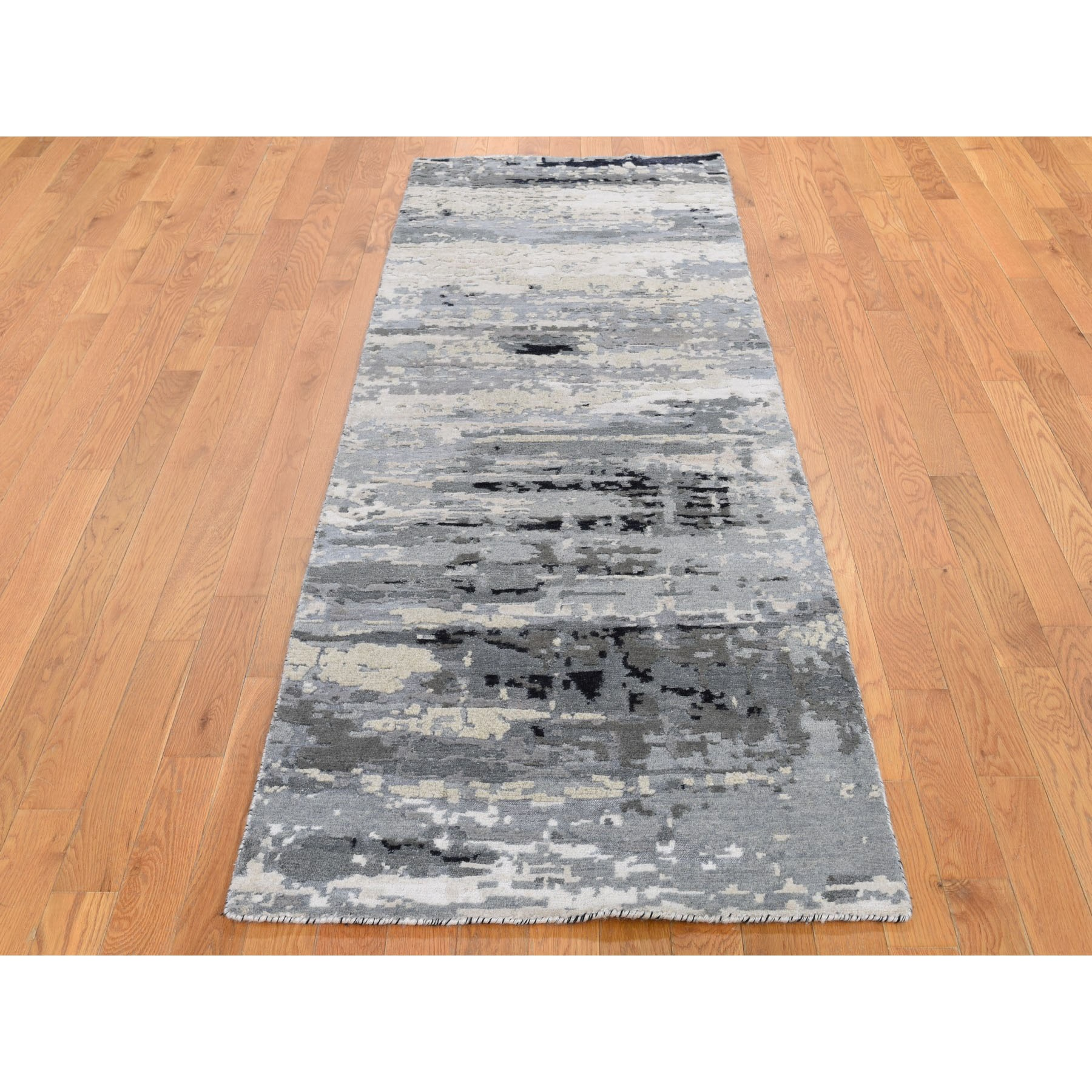 """2'8""""x8' Hi-Low Pile Abstract Design Wool And Silk Runner Hand Knotted Oriental Rug"""