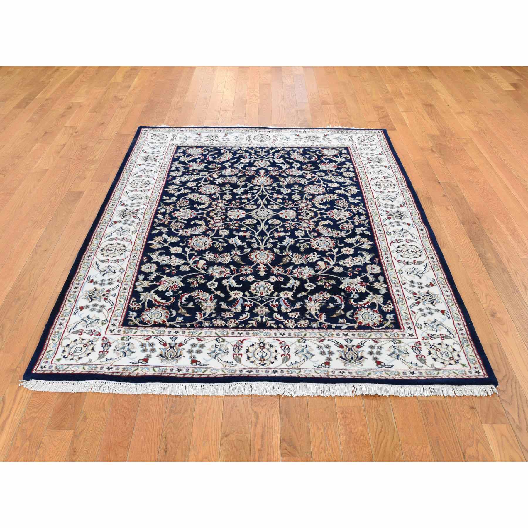 4-10 x6-10  Navy Blue Nain Wool And Silk All Over Design 250 KPSI Hand Knotted Oriental Rug