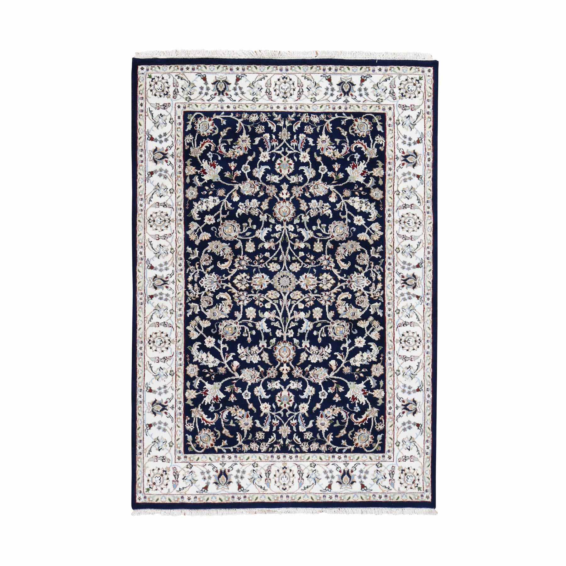 """4'1""""X6' Navy Blue Nain Wool And Silk All Over Design 250 Kpsi Hand Knotted Oriental Rug moad790a"""