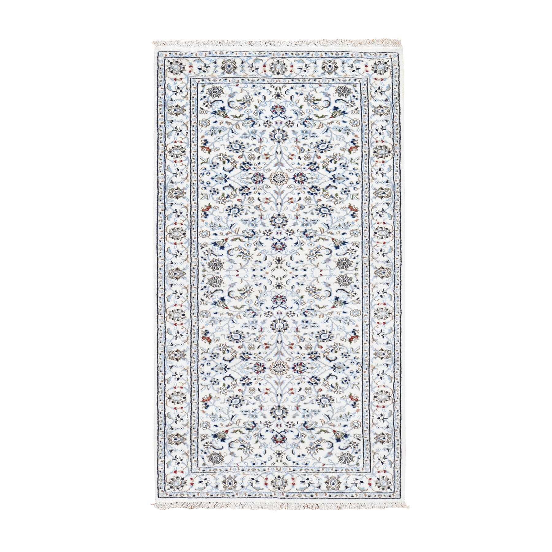 "2'9""X6'4"" Ivory Nain Wool And Silk All Over Design 250 Kpsi Hand Knotted Oriental Rug moad7906"