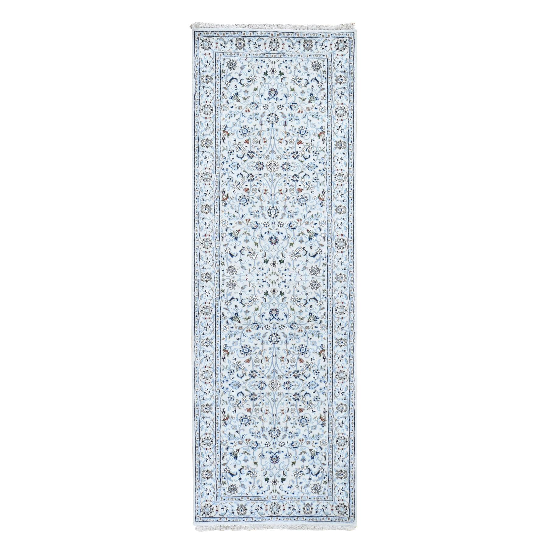 "2'8""X8'3"" Ivory Nain Wool And Silk All Over Design 250 Kpsi Hand Knotted Oriental Rug moad7907"