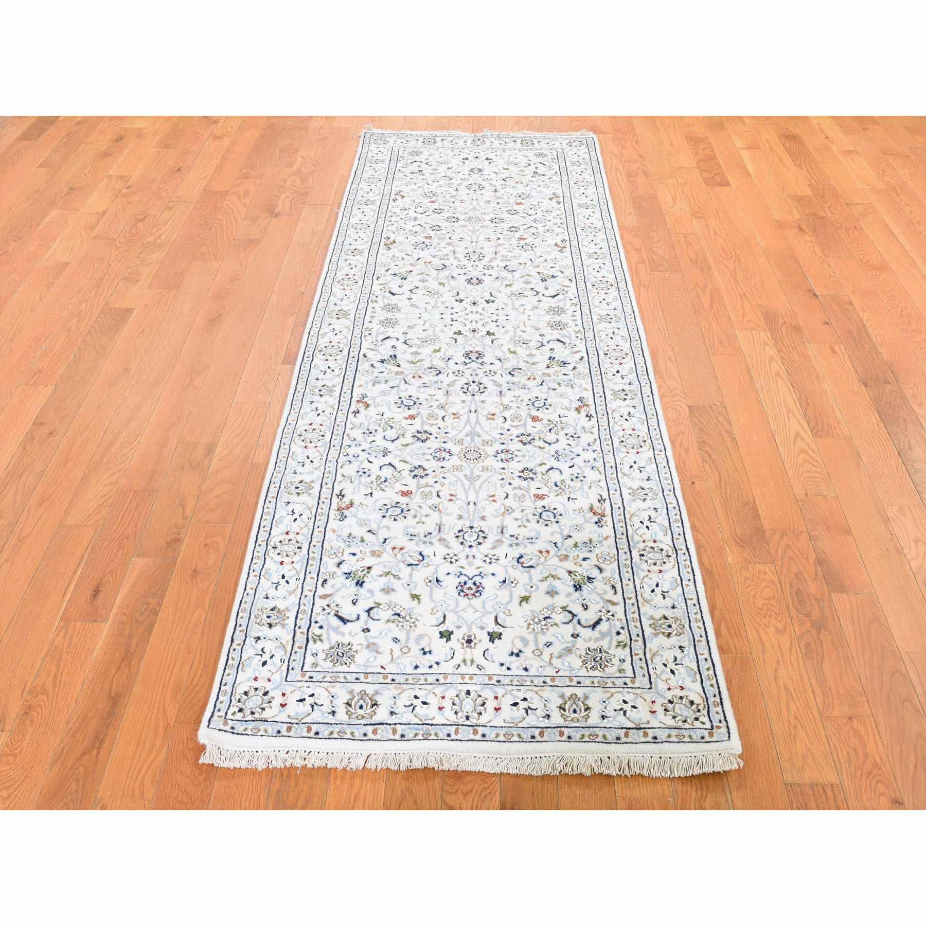 """2'8""""x8'3"""" Ivory Nain Wool And Silk All Over Design 250 KPSI Hand Knotted Oriental Rug"""
