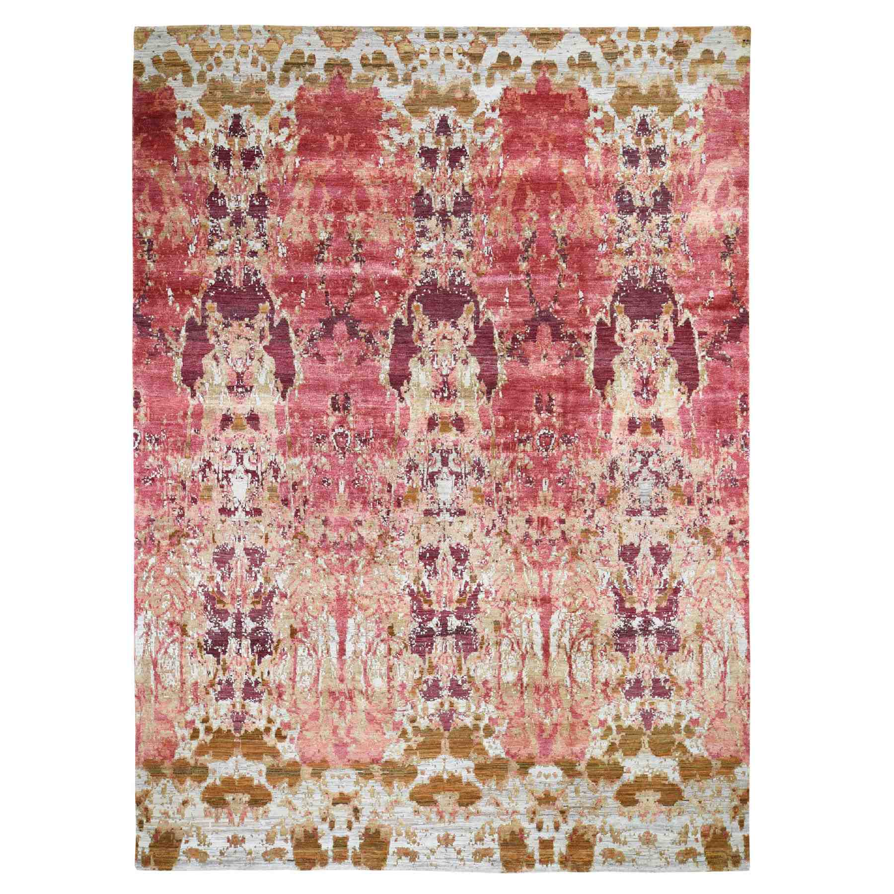 "9'x12'3"" Cranberry Abstract Design Wool And Silk Hand Knotted Oriental Rug"