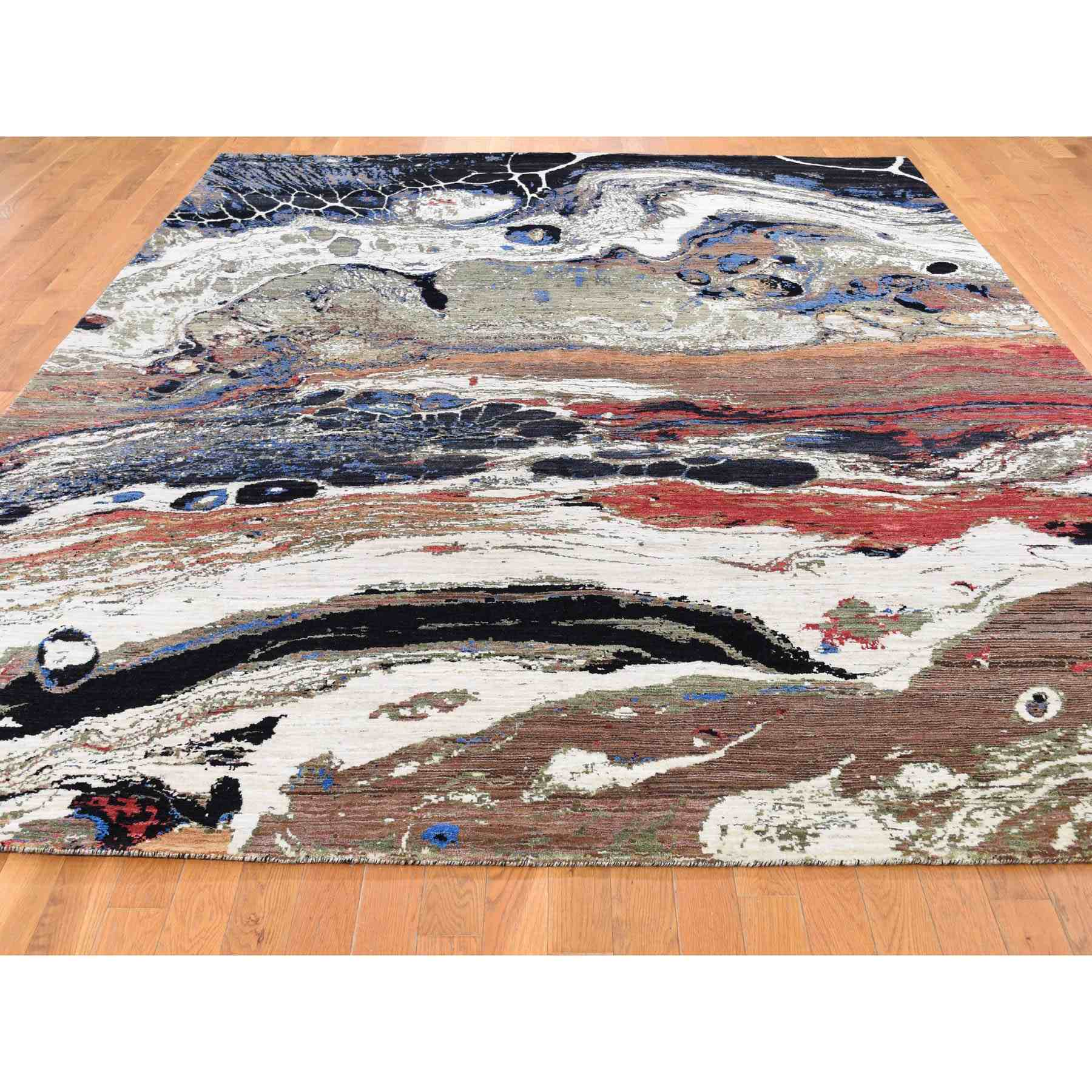 8-3 x10-6  THE FOSSIL Wool And Silk Hand Knotted Oriental Rug