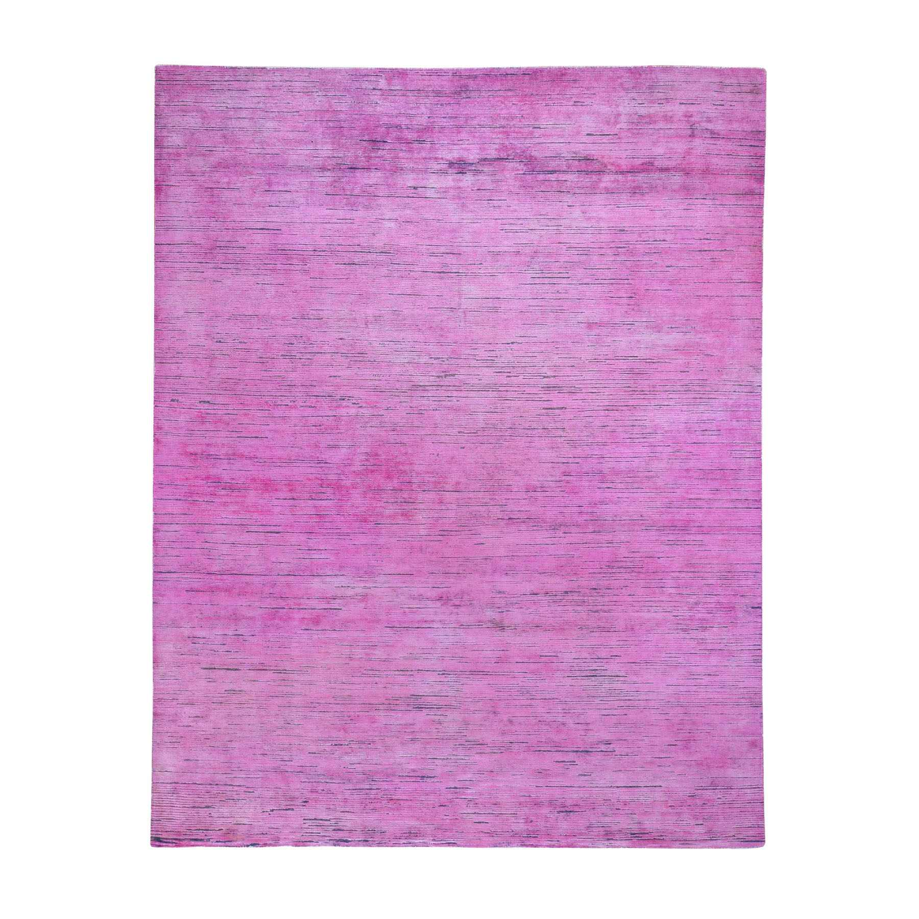 8'X10' Pink Overdyed Silk With Textured Wool Hand Knotted Oriental Rug moad79ae