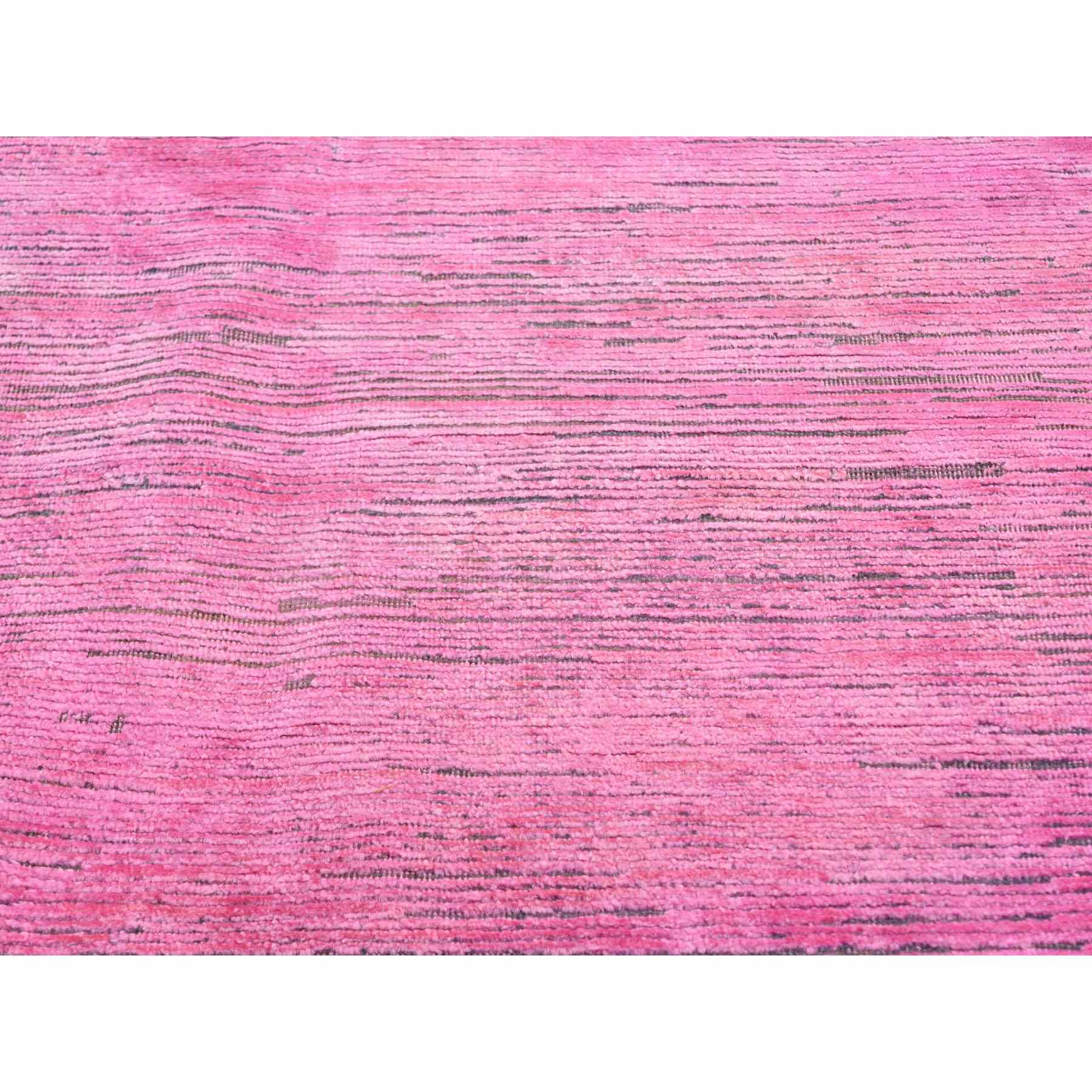 8'x10' Pink Overdyed Silk With Textured Wool Hand Knotted Oriental Rug