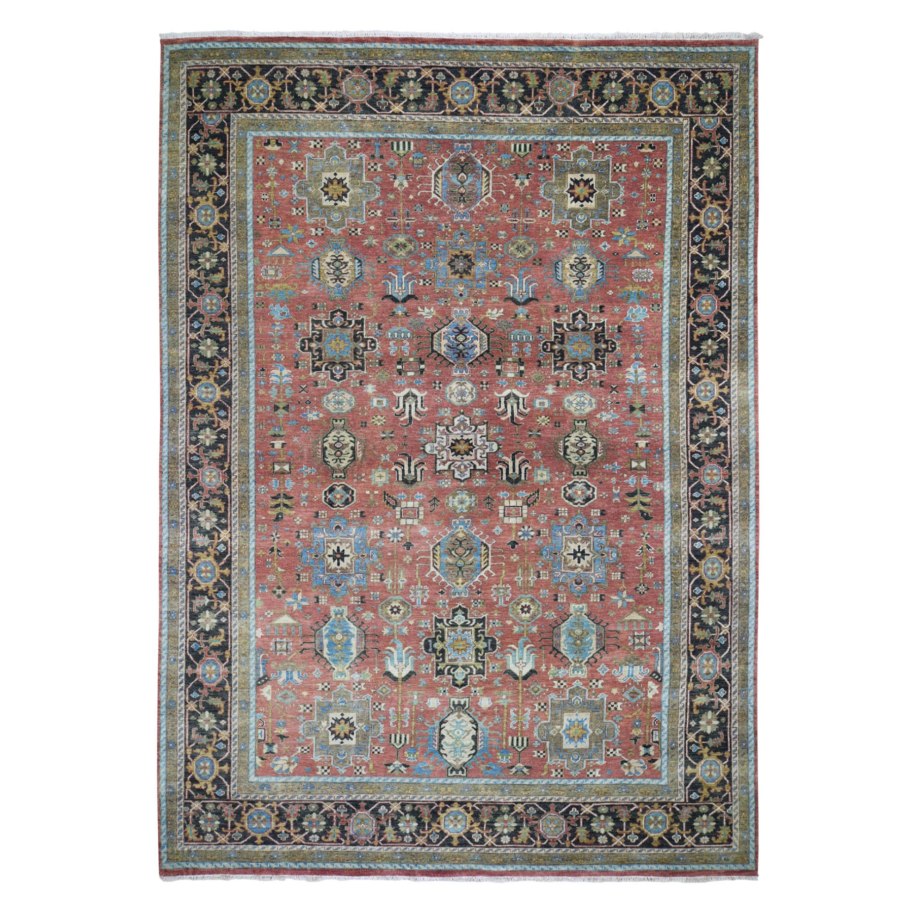 """8'9""""X12' Red Heriz Revival Karajeh  Design Pure Wool Hand Knotted Oriental Rug moad79b0"""