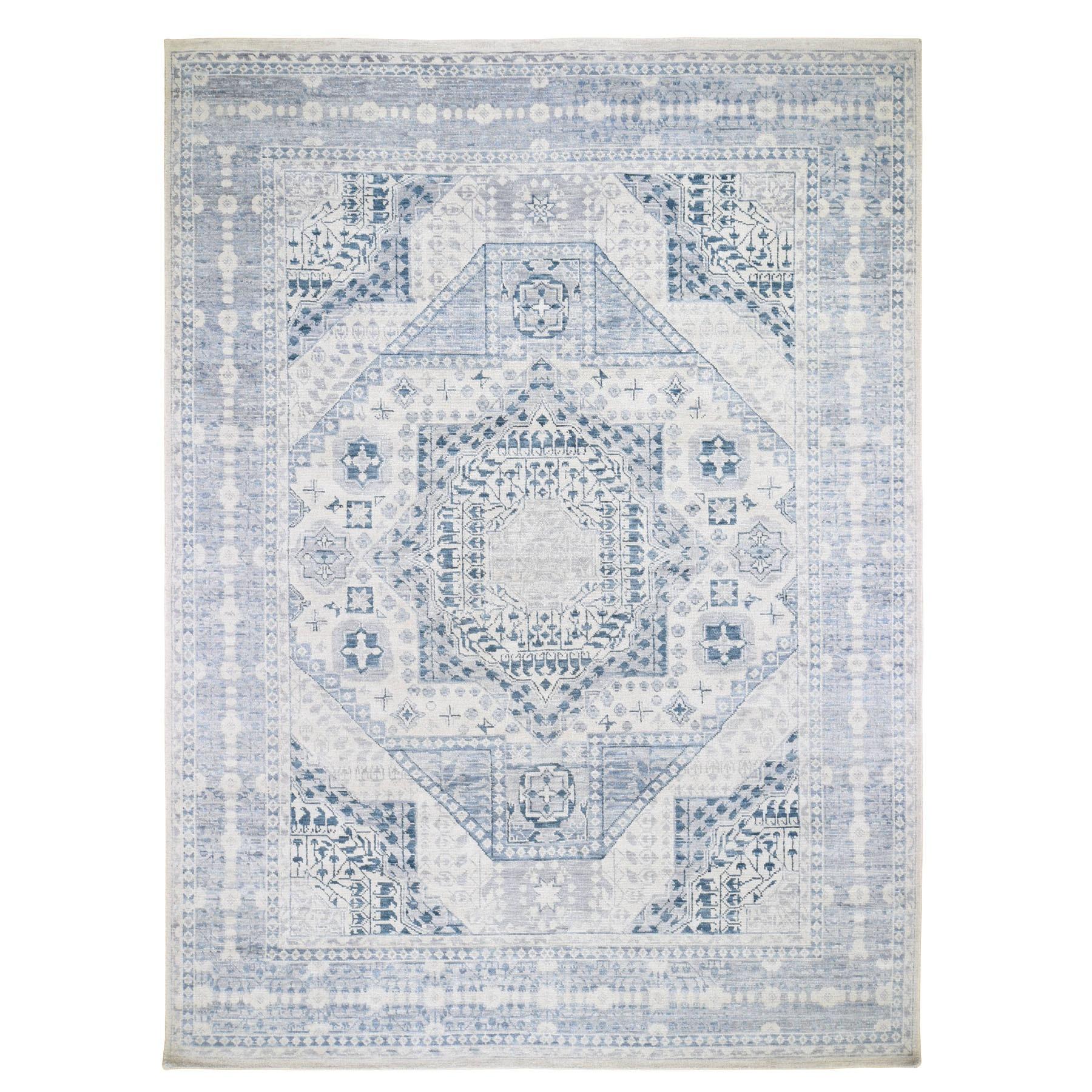 """9'1""""X12'1"""" Light Blue Mamluk Design Veg Dyes Hand Spun New Zealand Wool Oriental Rug moad79bb"""