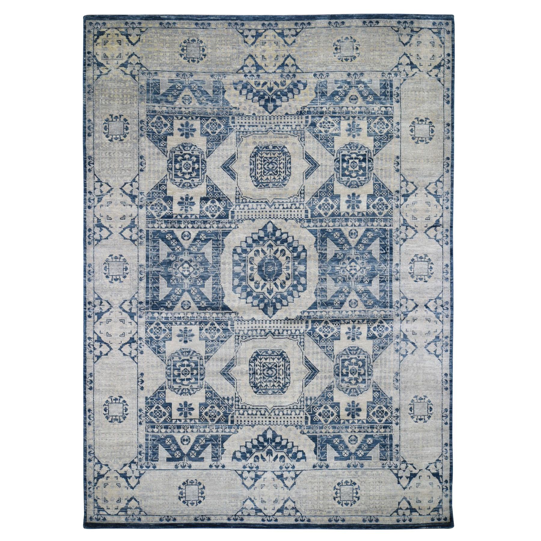 """9'1""""X12' Blue Mamluk Design Veg Dyes Hand Spun New Zealand Wool Oriental Rug moad79b6"""