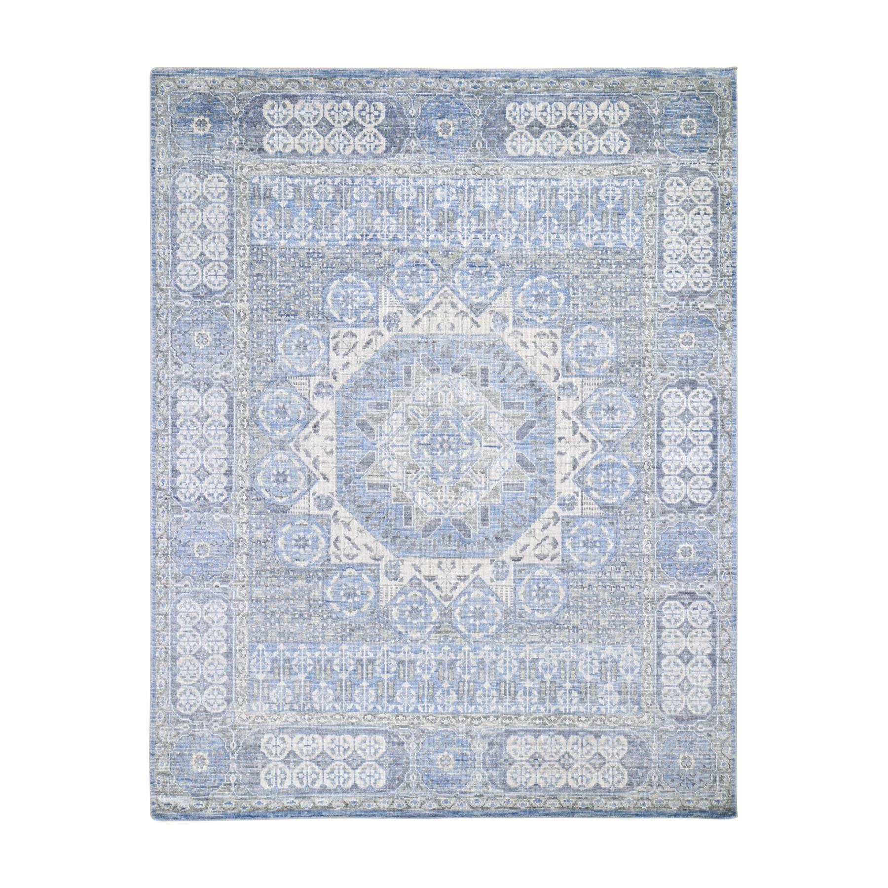"8'2""x10'1"" Light Blue Mamluk Design Veg Dyes Hand Spun New Zealand Wool Oriental Rug 47928"