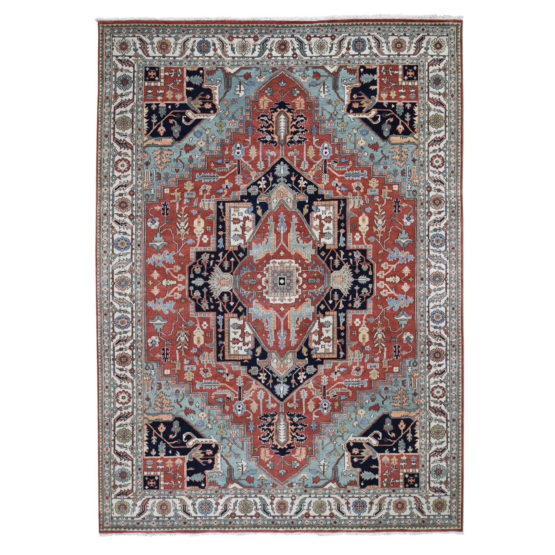 """8'9""""X12' Red Heriz Revival Pure Wool Hand Knotted Oriental Rug moad79b9"""