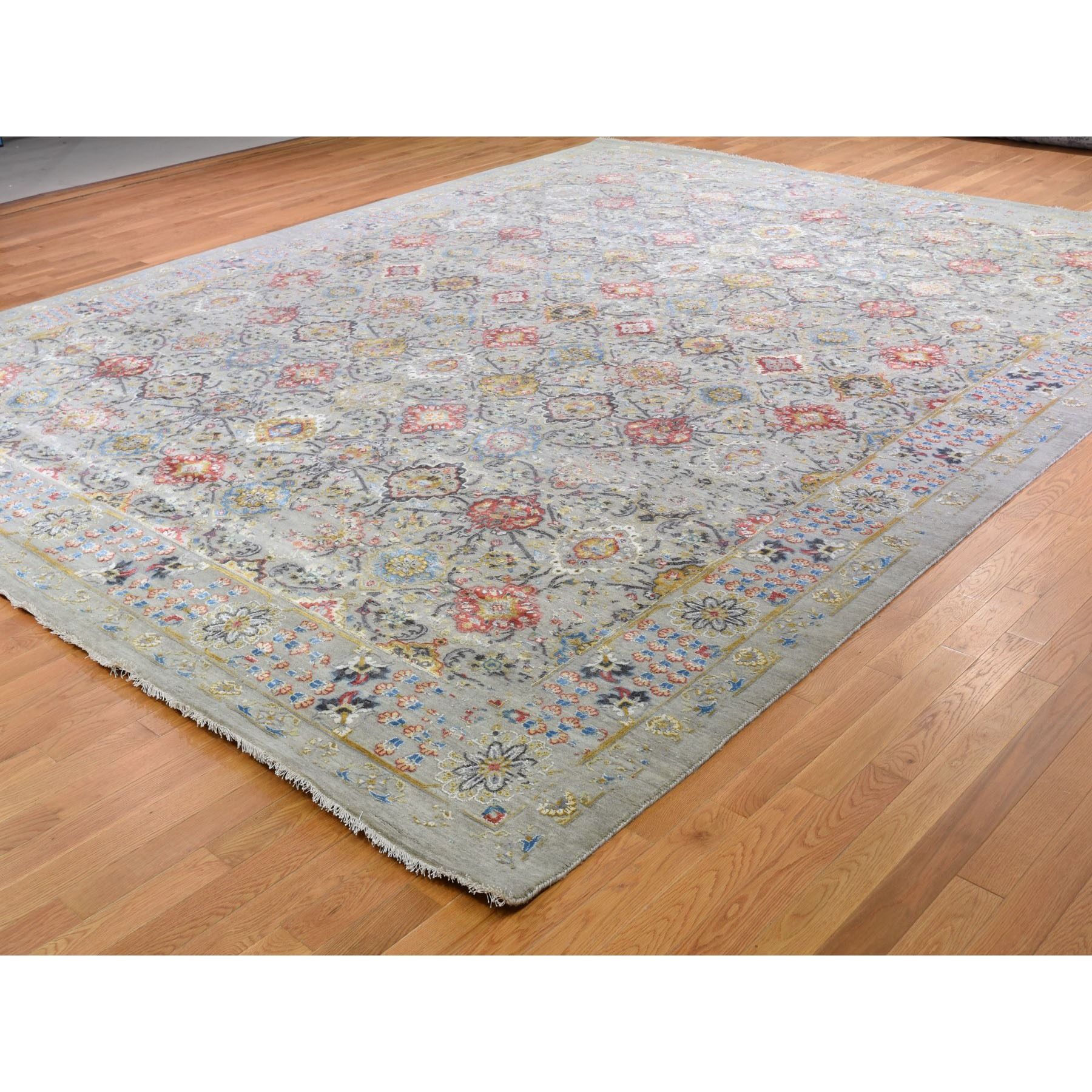 12-x15-1  Oversized THE SUNSET ROSETTES Wool And Pure Silk Hand Knotted Oriental Rug