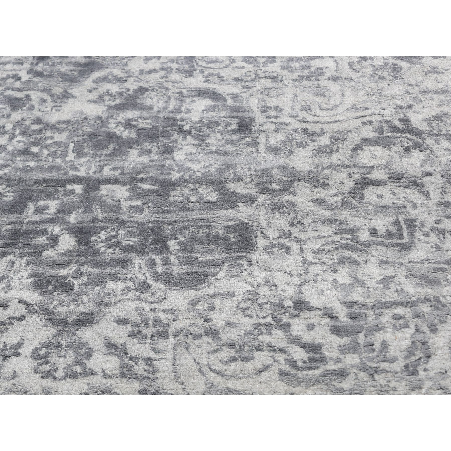 """12'x15'2"""" Oversized Silver-Dark Gray Erased Persian Design Wool and Pure Silk Hand Knotted Oriental Rug"""