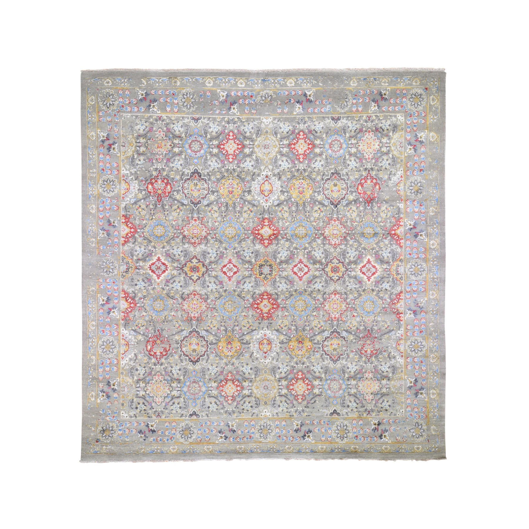 "10'3""x10'3"" Square THE SUNSET ROSETTES Wool And Pure Silk Hand Knotted Oriental Rug"