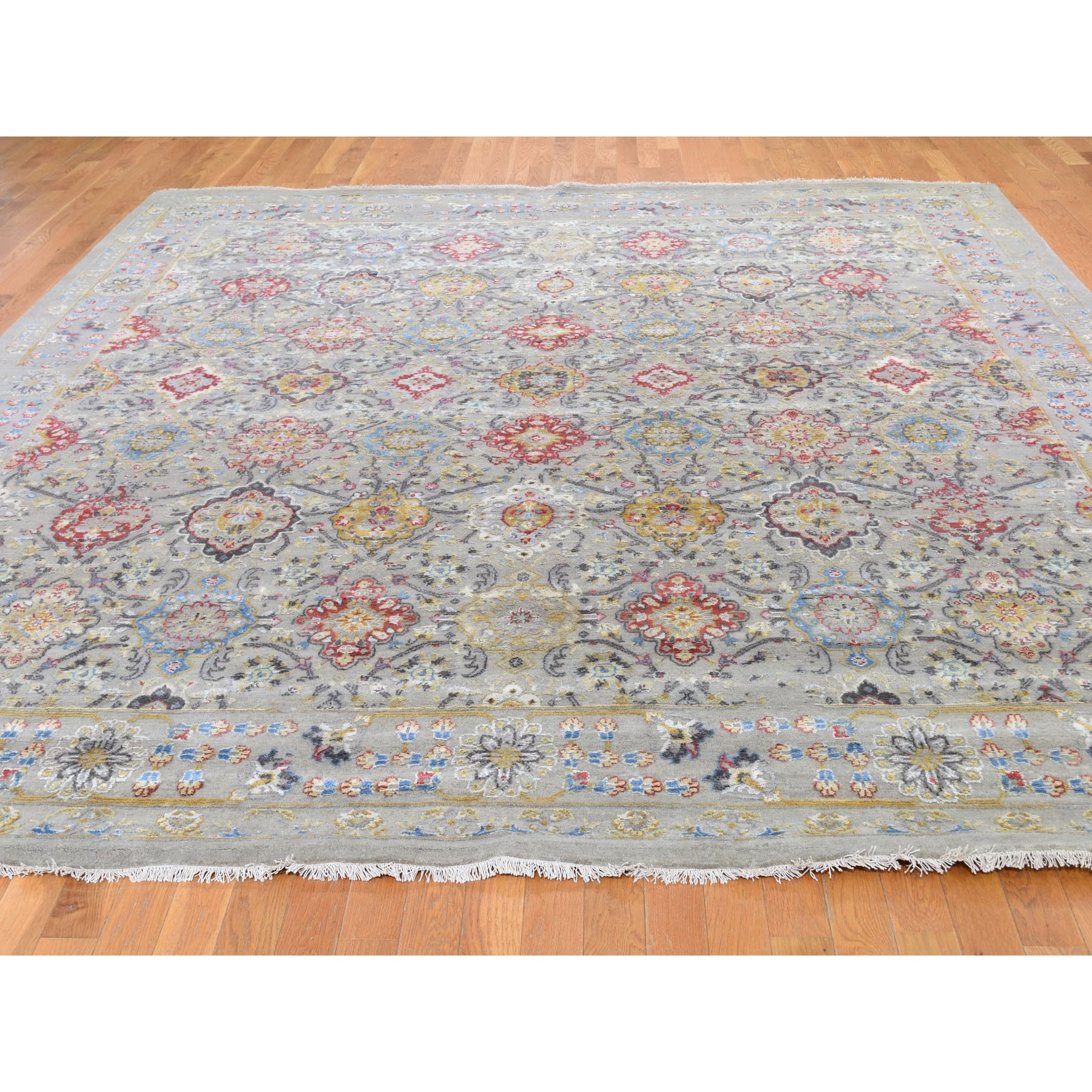 10-3 x10-3  Square THE SUNSET ROSETTES Wool And Pure Silk Hand Knotted Oriental Rug