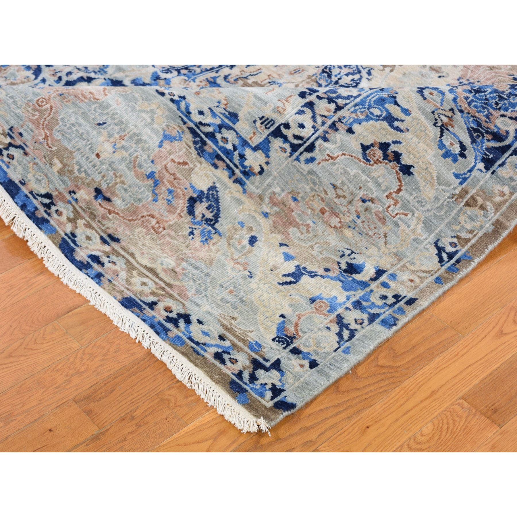 "9'x11'10"" Denim Blue Transitional Mughal Design Hand Knotted Oriental Rug"