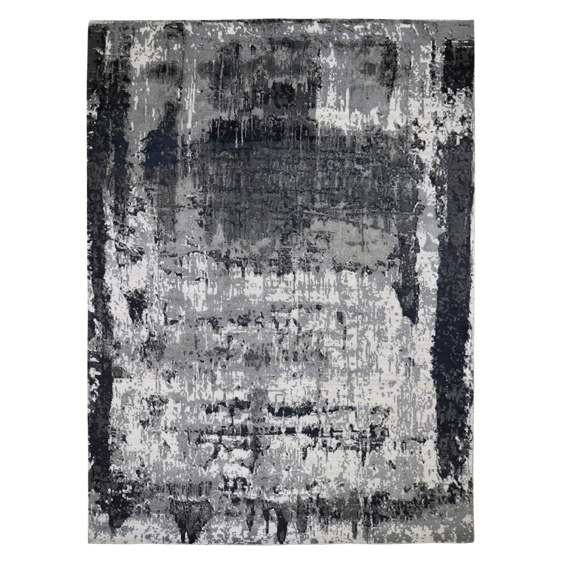 "9'1""x12' Black Abstract Design Hi-Lo Pile Wool And Silk Hand Knotted Oriental Rug 47938"