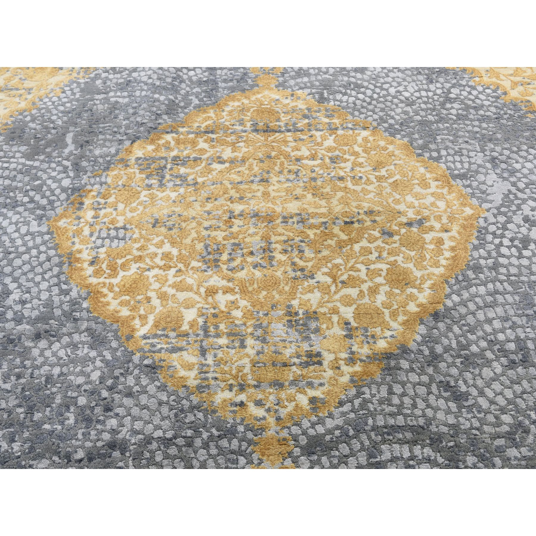 10'x10' Square Gold Persian Design Wool And Pure Silk Hand Knotted Oriental Rug