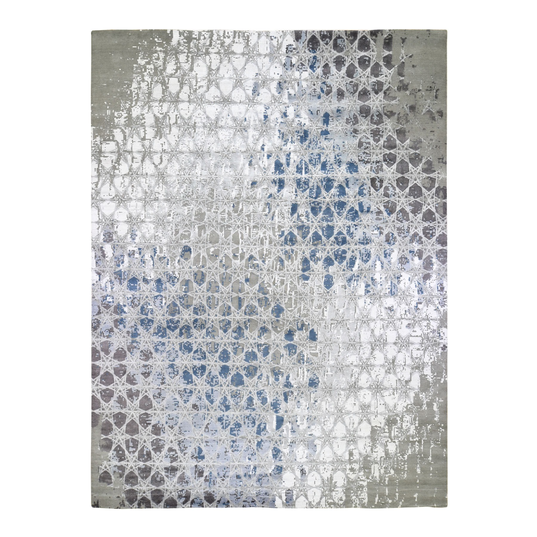 """12'1""""X14'10"""" The Honeycomb, Oversized Wool And Silk Award Winning Design Hand Knotted Oriental Rug moad79d0"""