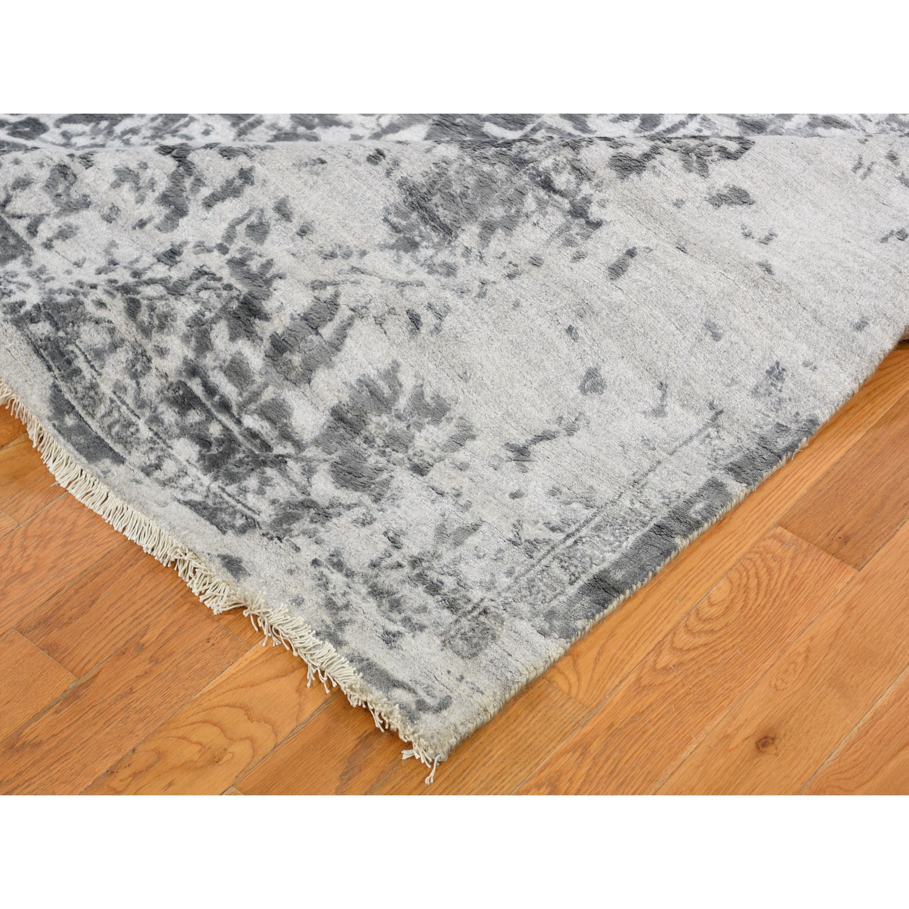 9-x12- Silver-Dark Gray Erased Persian Design Wool and Pure Silk Hand Knotted Oriental Rug