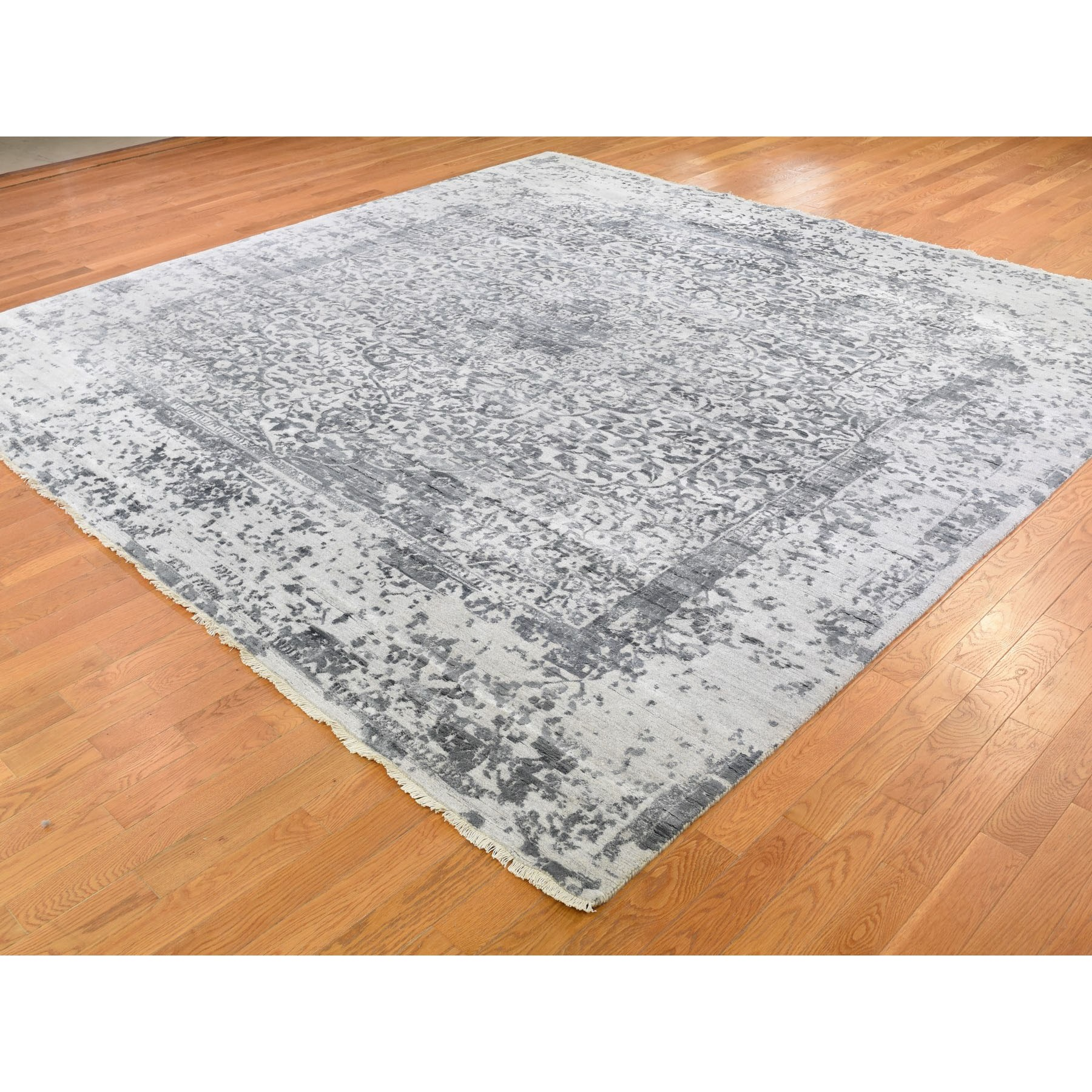 10'x10' Square Silver-Dark Gray Erased Persian Design Wool and Pure Silk Hand Knotted Oriental Rug