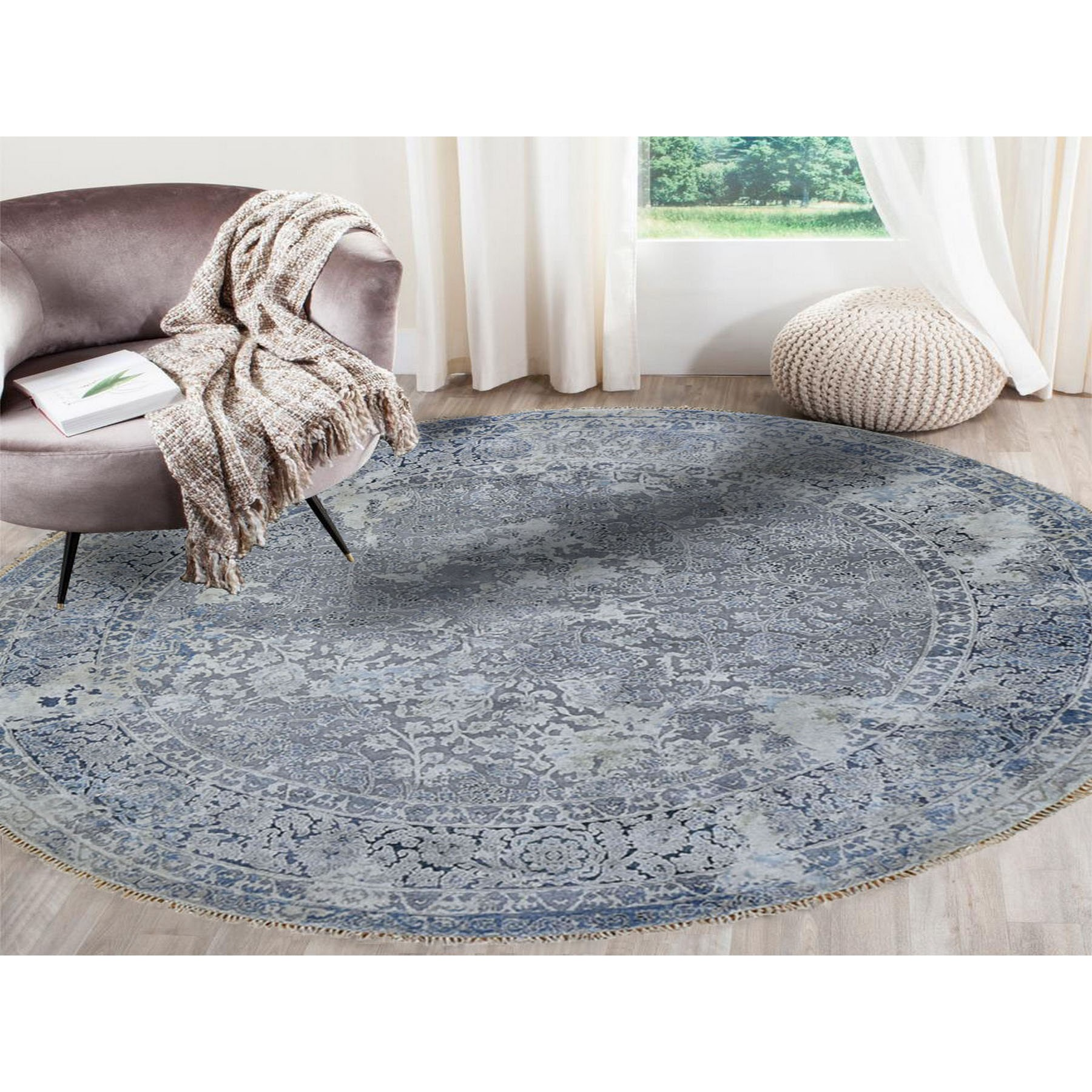 10-x10- Round Broken Persian Design With Pure Silk Hand Knotted Oriental Rug