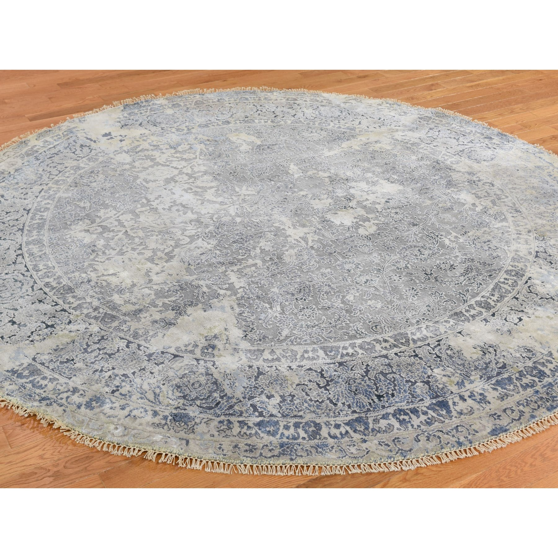 10'x10' Round Broken Persian Design With Pure Silk Hand Knotted Oriental Rug