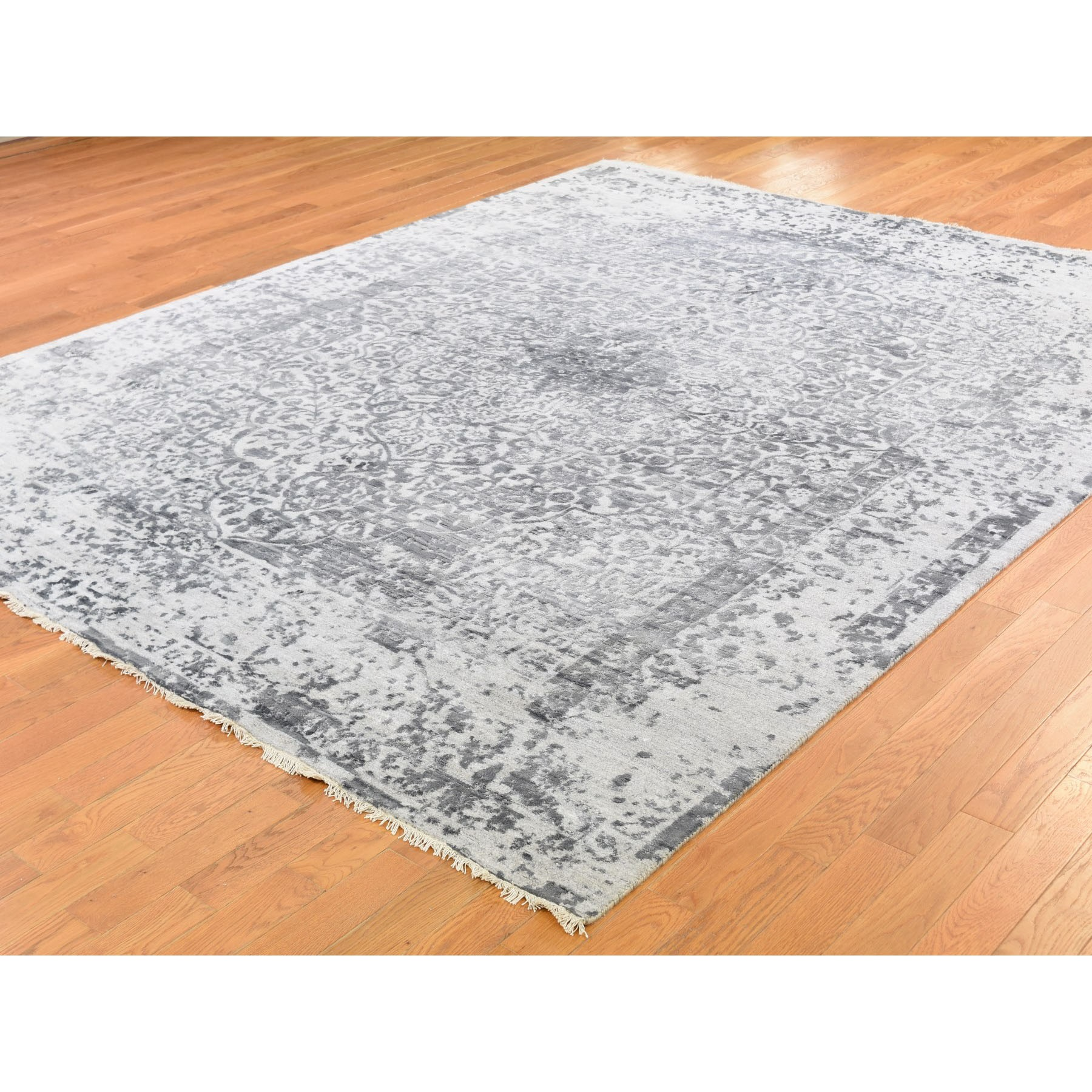 8'x10' Silver-Dark Gray Erased Persian Design Wool and Pure Silk Hand Knotted Oriental Rug