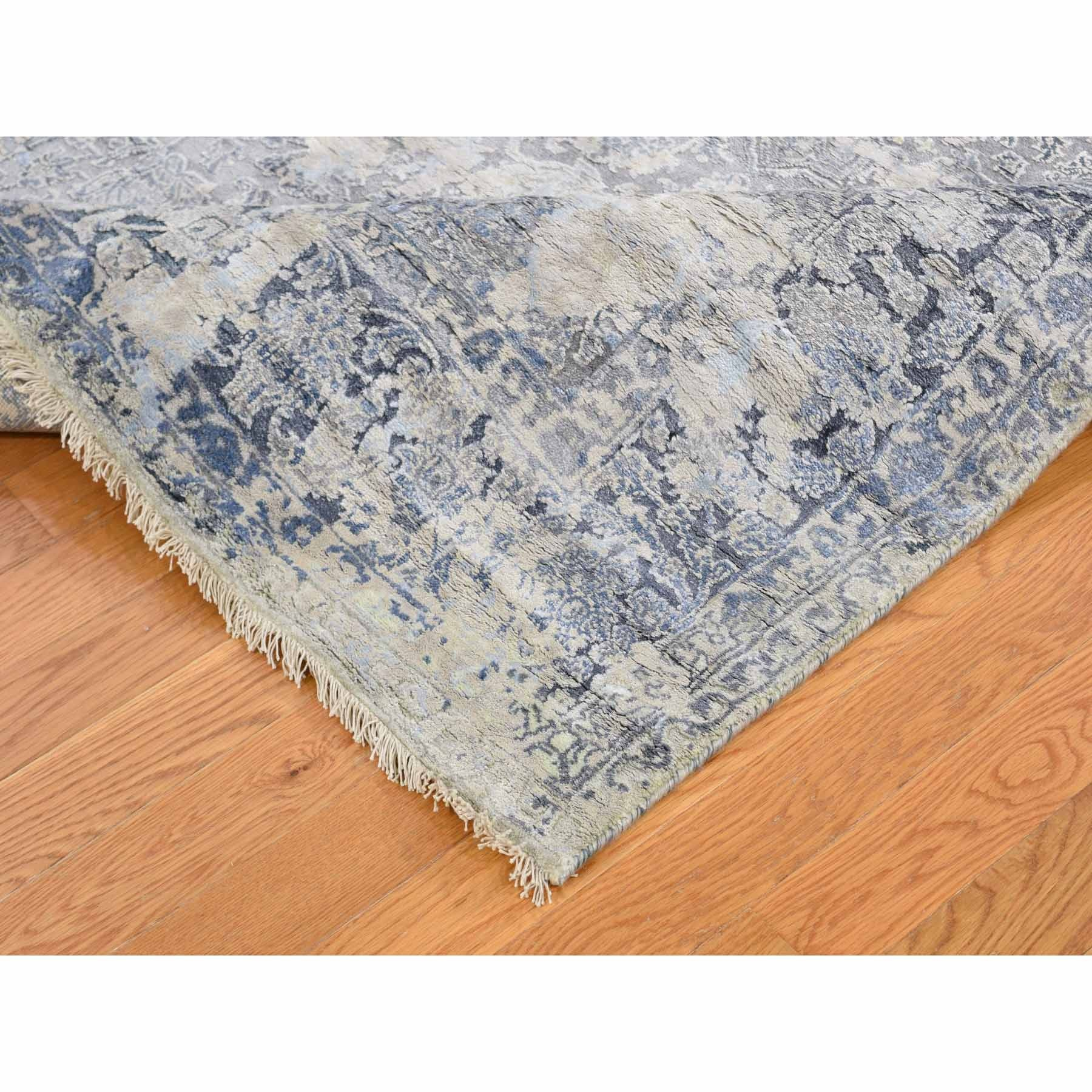 5'x7' Gray Broken Persian Design With Pure Silk Hand Knotted Oriental Rug