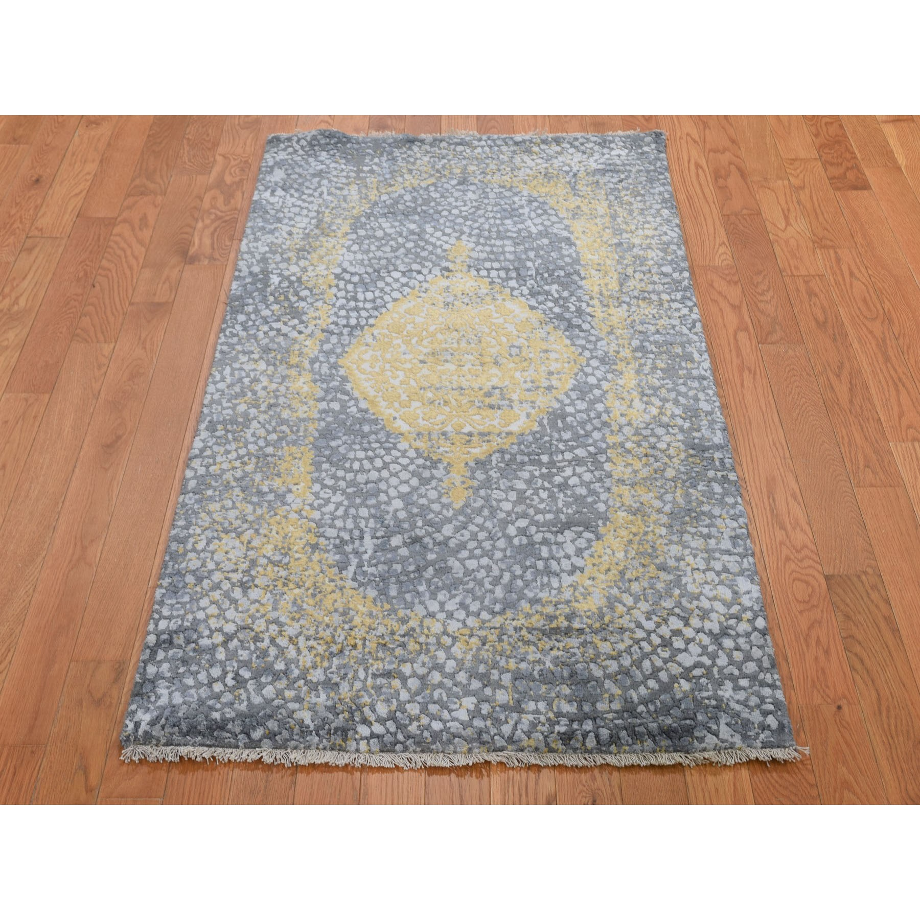 2-10 x6- Gold Persian Design Wool And Pure Silk Runner Hand Knotted Oriental Rug