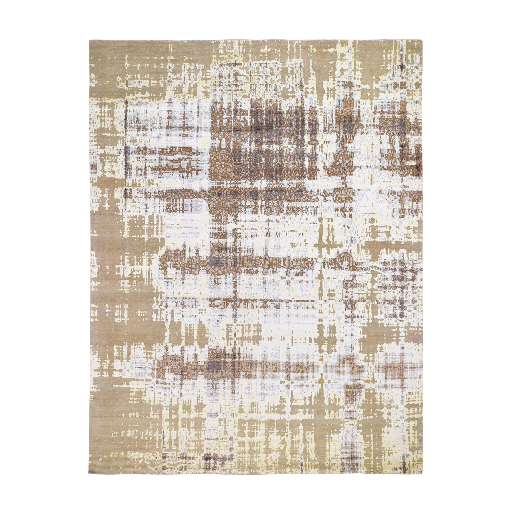"8'X9'10"" Yellow Abstract Design Silk With Textured Wool Hand Knotted Oriental Rug moad79e0"