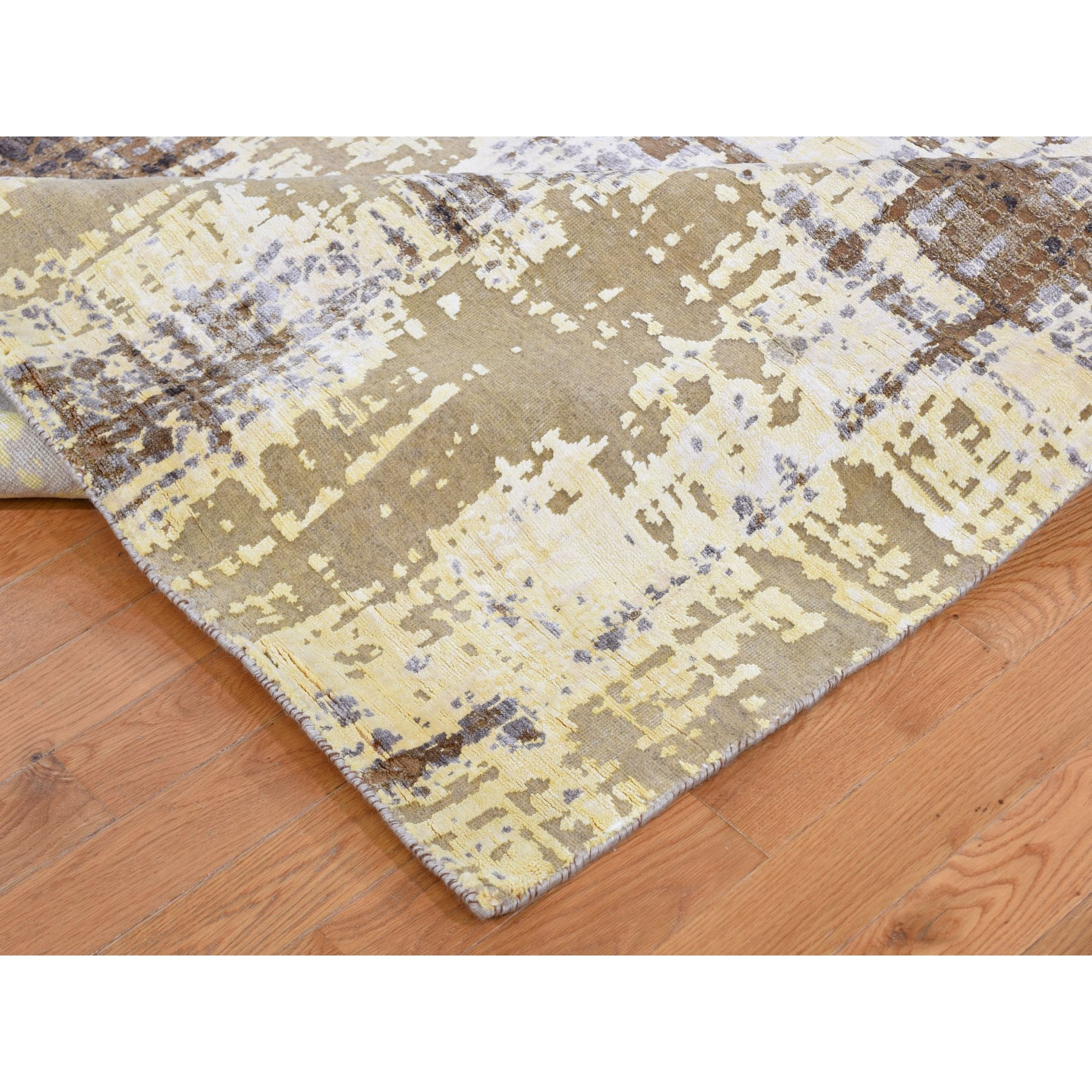 8-x9-10  Yellow Abstract Design Silk With Textured Wool Hand Knotted Oriental Rug