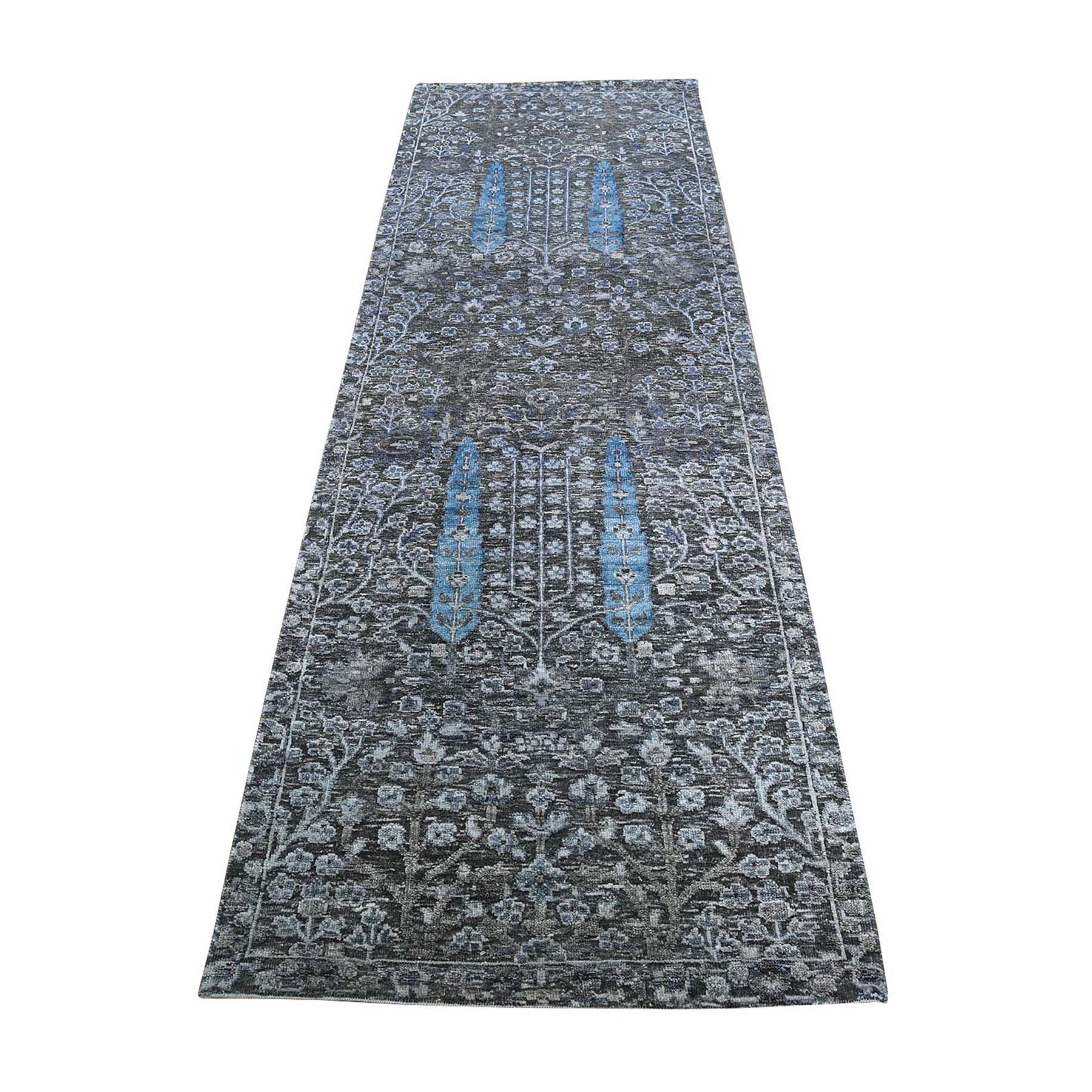 "2'7""X8' Cypress Tree Design Silk With Textured Wool Runner Hand-Knotted Oriental Rug moad79ea"