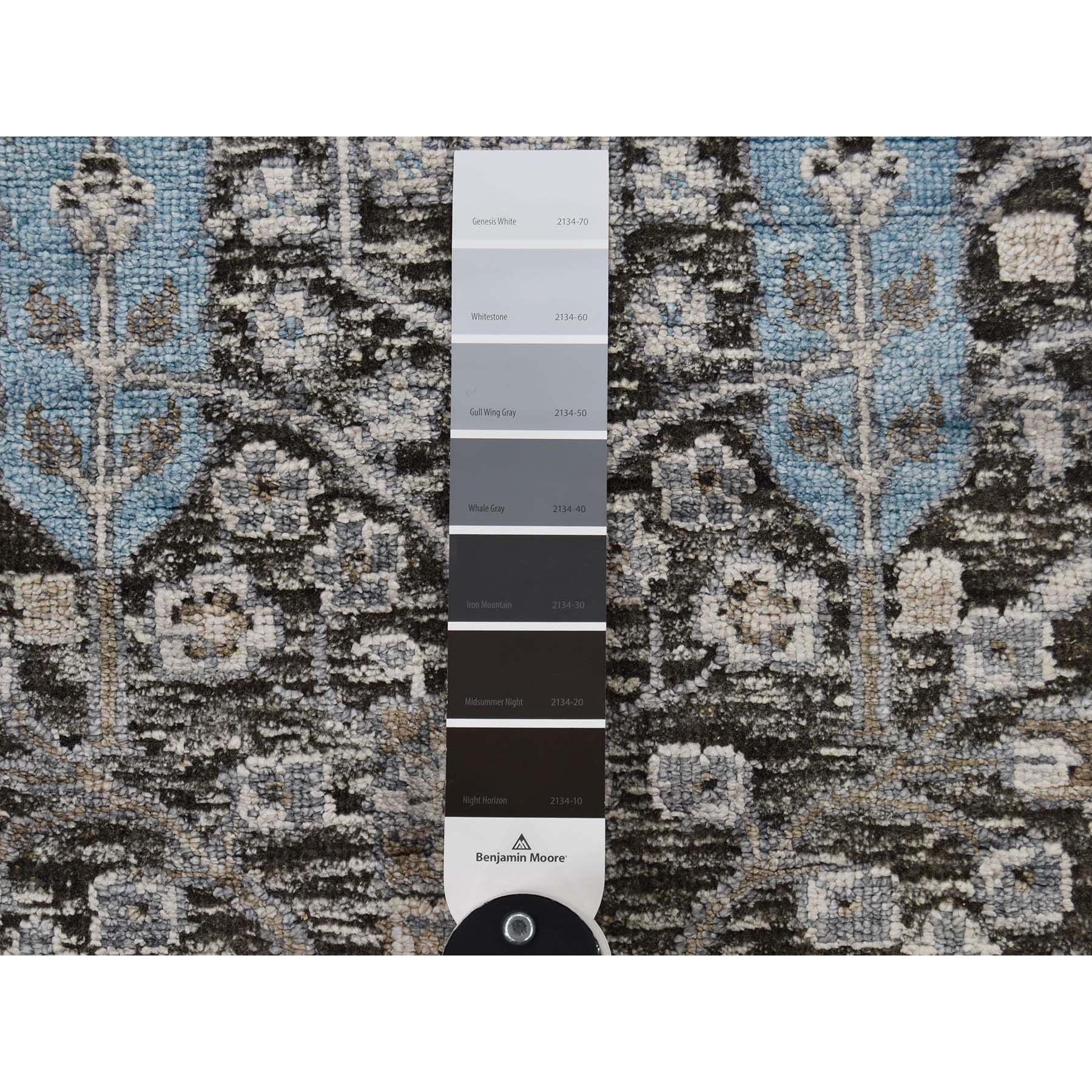 2-7 x8- Cypress Tree Design Silk with Textured Wool Runner Hand-Knotted Oriental Rug