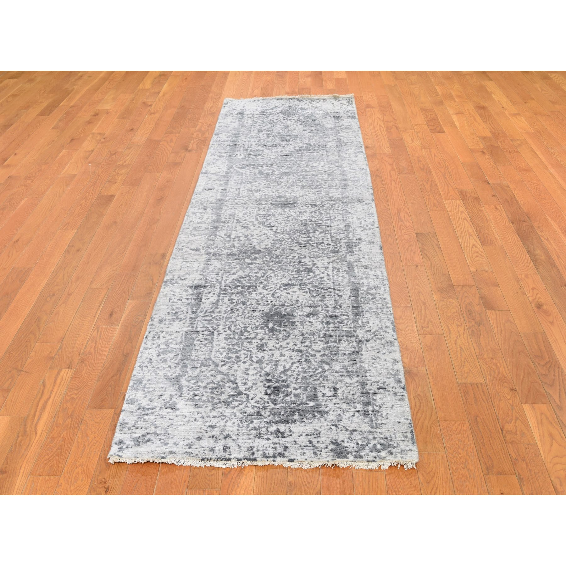 "2'8""x10' Silver-Dark Gray Erased Persian Design Runner Wool and Pure Silk Hand Knotted Oriental Rug"