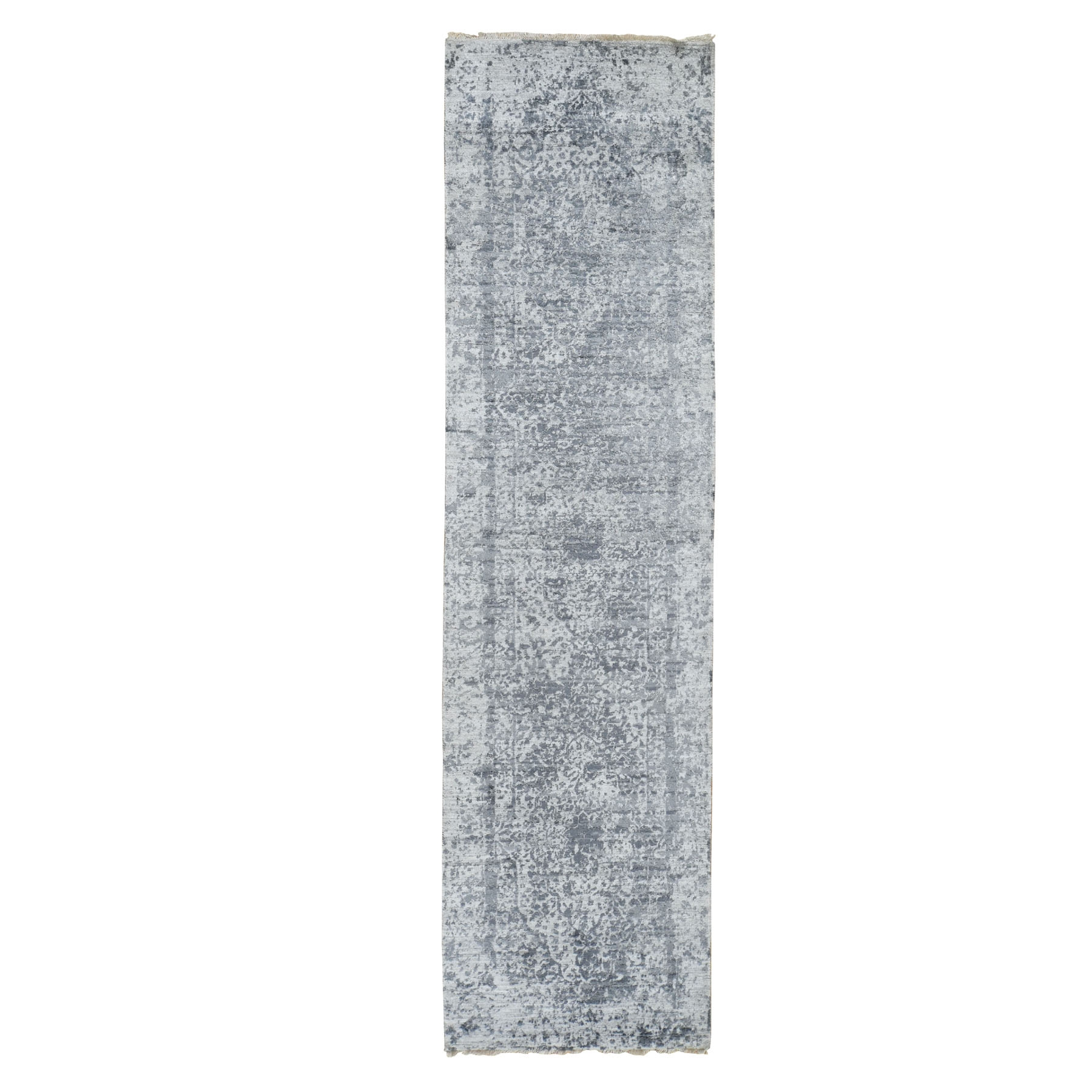 "2'8""X10' Silver-Dark Gray Erased Persian Design Runner Wool And Pure Silk Hand Knotted Oriental Rug moad79ed"