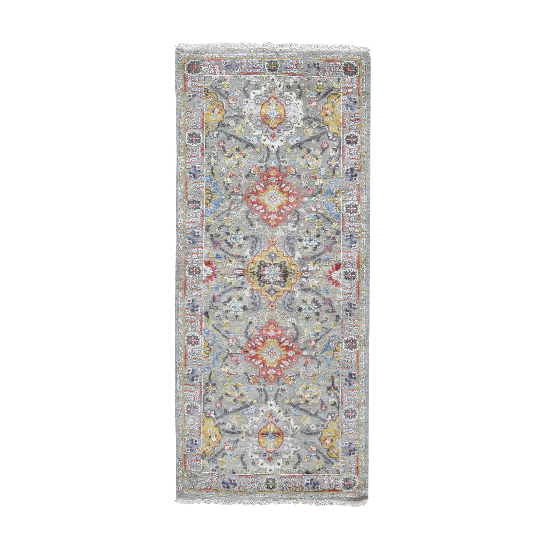 "2'7""X6' The Sunset Rosettes Wool And Pure Silk Runner Hand Knotted Oriental Rug moad79e6"