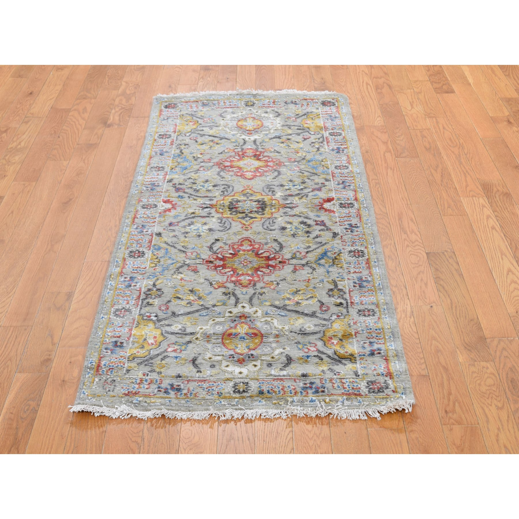 "2'7""x6' THE SUNSET ROSETTES Wool And Pure Silk Runner Hand Knotted Oriental Rug"