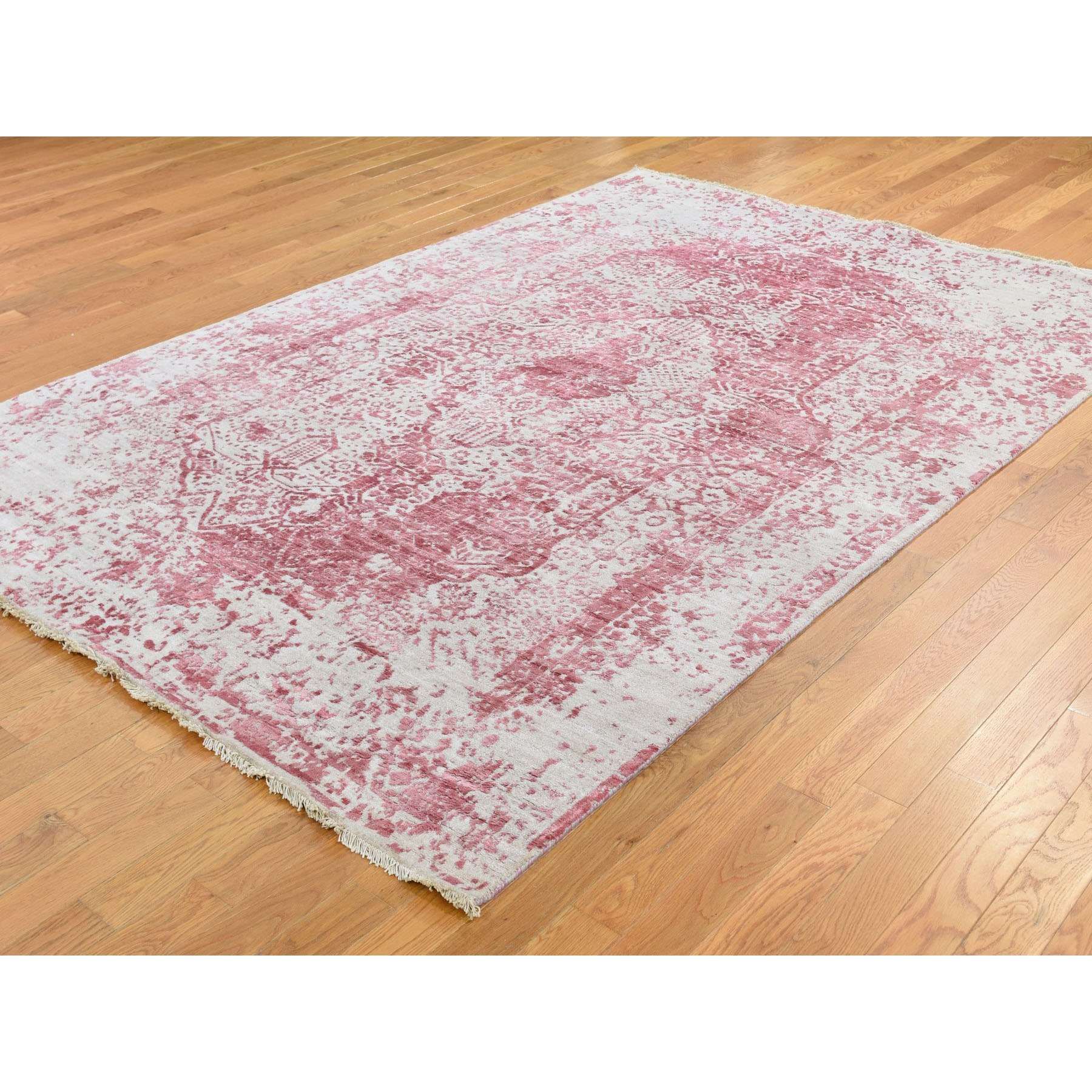 """6'x8'10"""" Pink Broken Persian Design Wool And Pure Silk Hand Knotted Oriental Rug"""