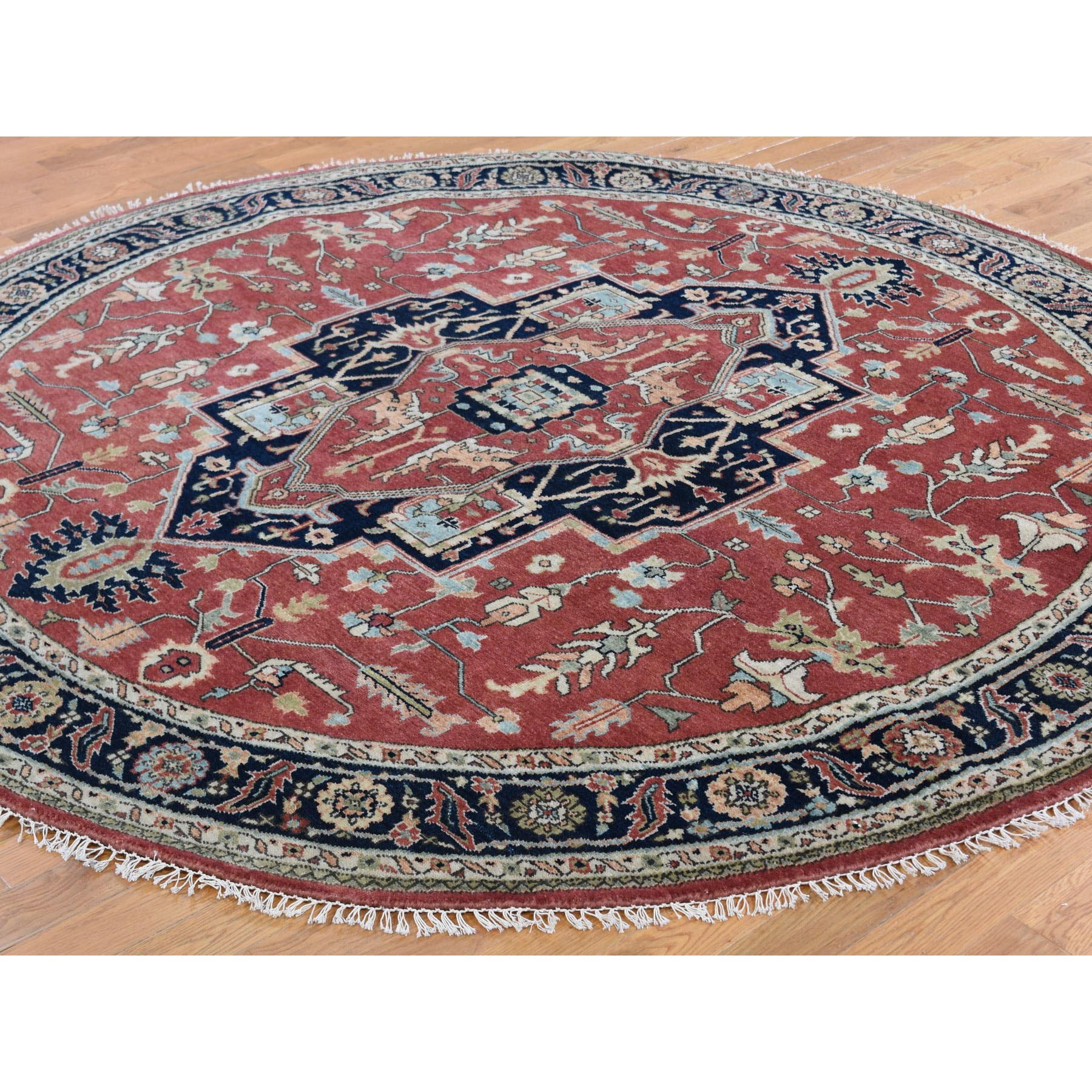 8-x8- Red Heriz Revival Pure Wool Hand Knotted Oriental Rug